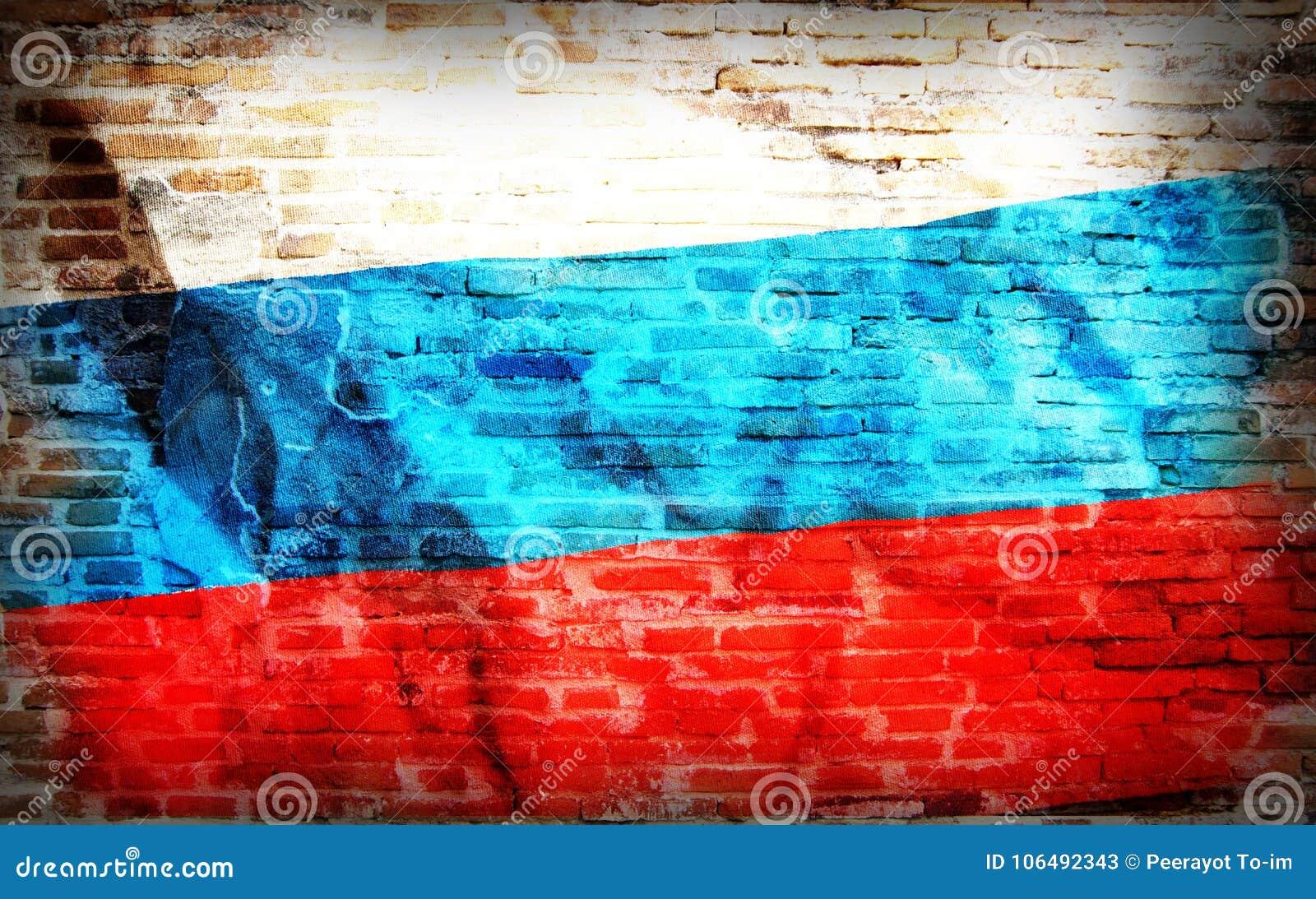 Filtrerad tappninggrunge, Ryssland flagga på tegelsten