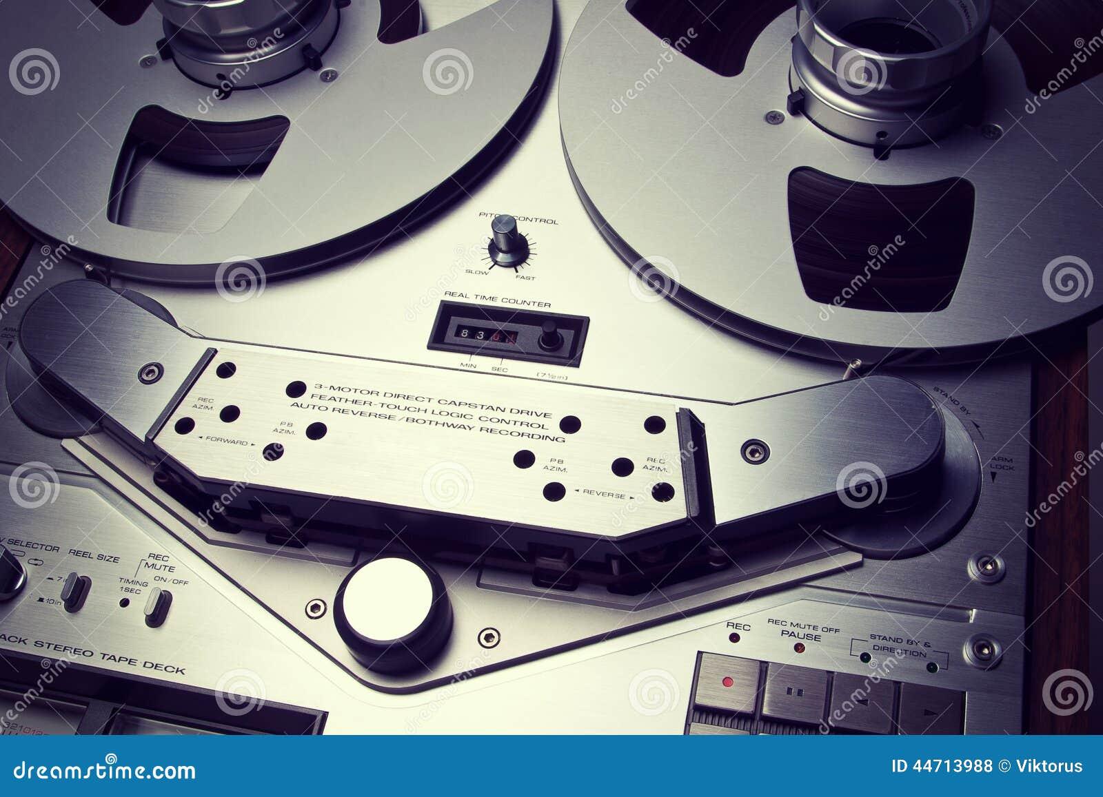 Fim aberto do dispositivo do medidor do VU do registrador da plataforma de fita do carretel do estéreo análogo
