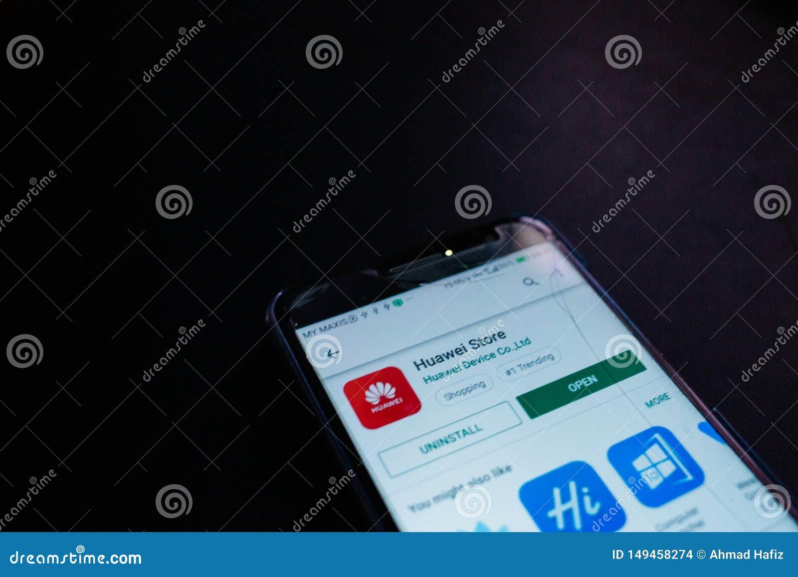 Fim da aplica??o da loja de Huawei acima na tela do smartphone