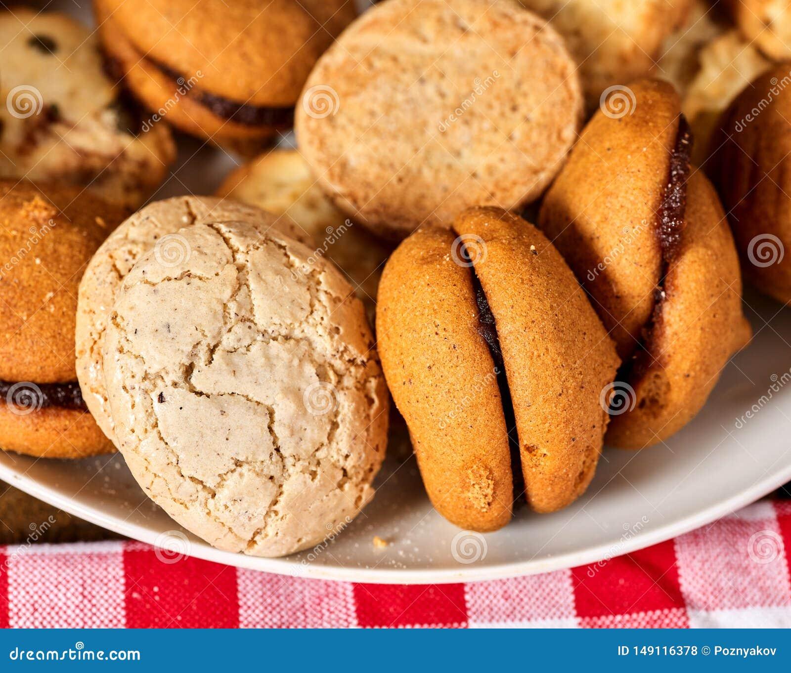 Fim de Macaron do petisco das cookies de farinha de aveia acima