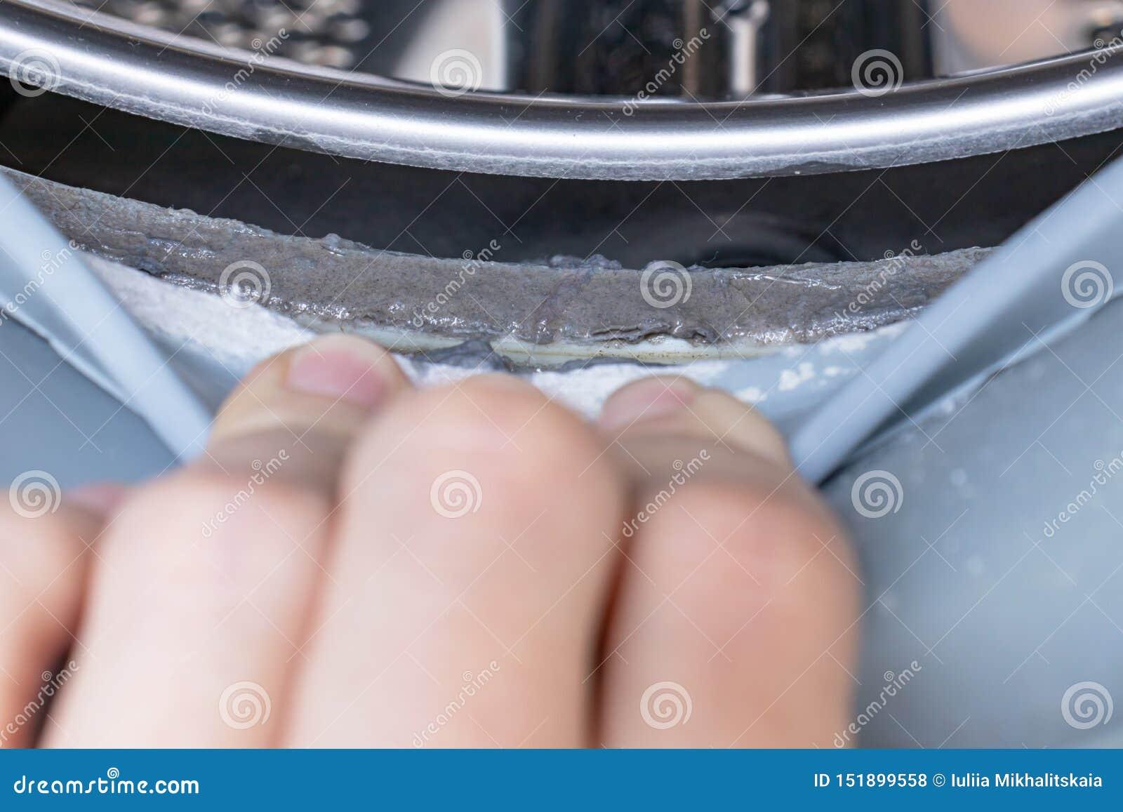 Fim mofado sujo da borracha e do cilindro de selagem da m?quina de lavar acima Molde, sujeira e limescale na m?quina de lavar Apa
