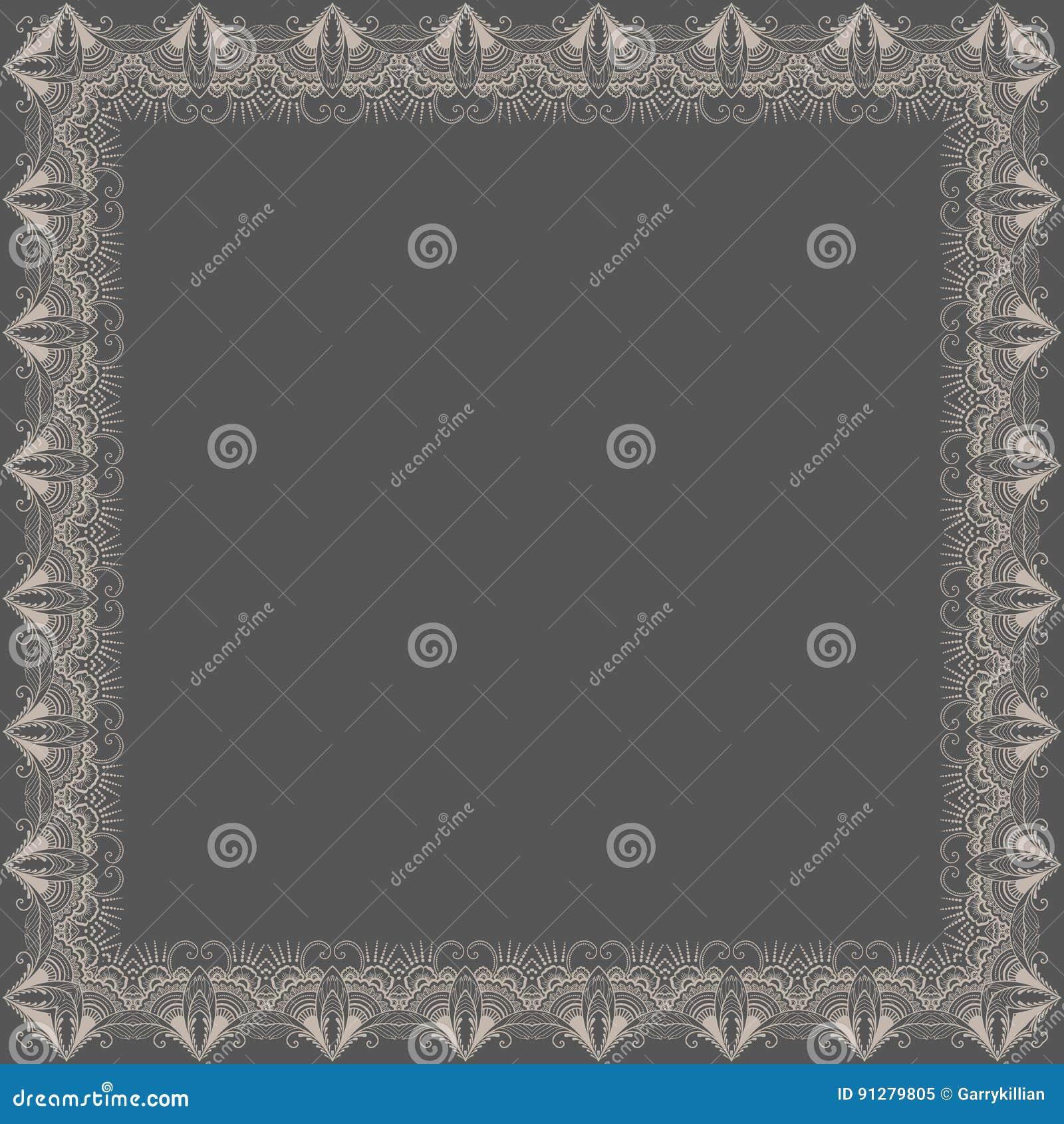 Fin blom- fyrkantig ram för vektor Dekorativ beståndsdel för inbjudningar och kort kant