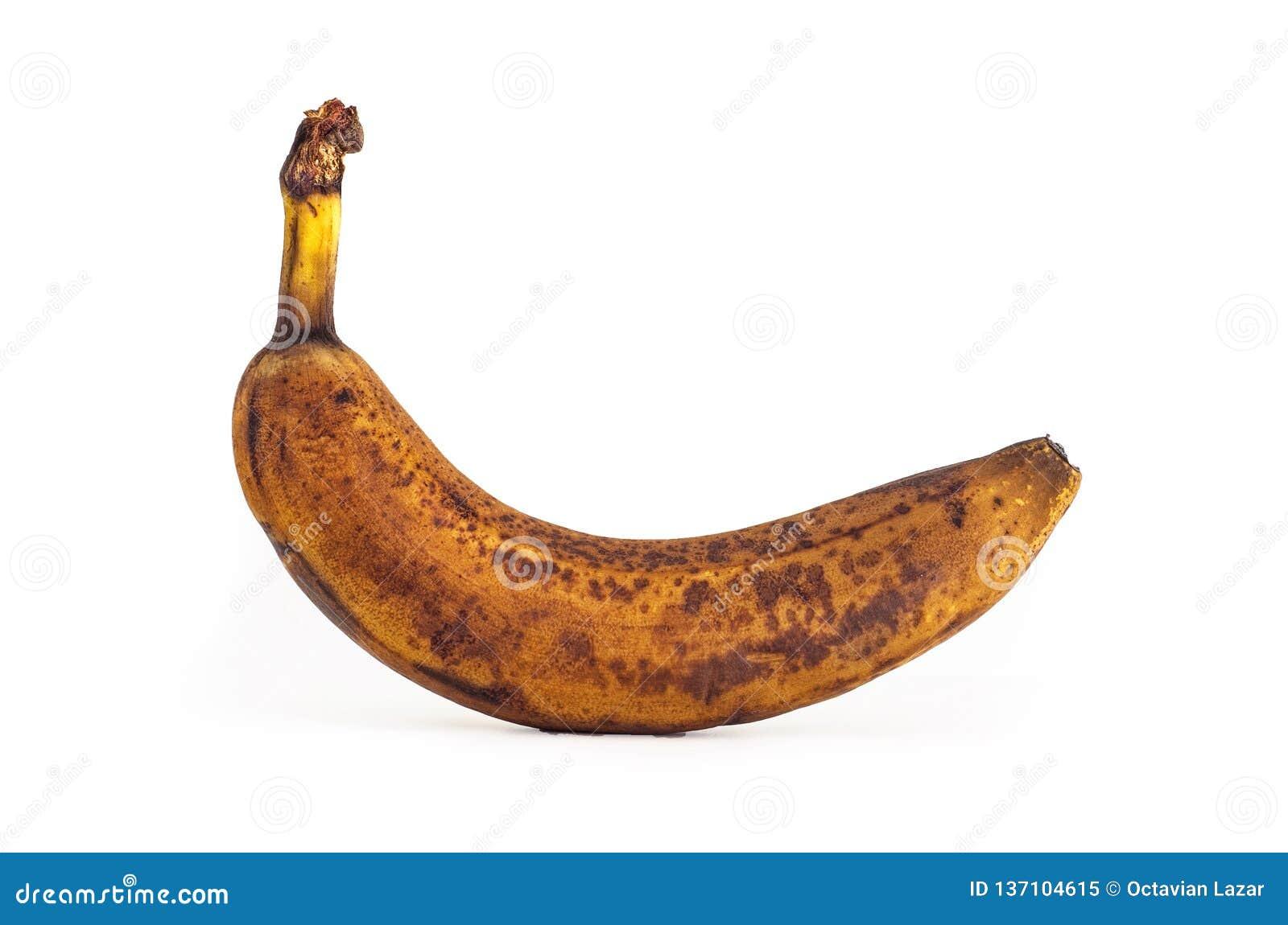 Fin d isolement simple de banane trop mûre de Brown