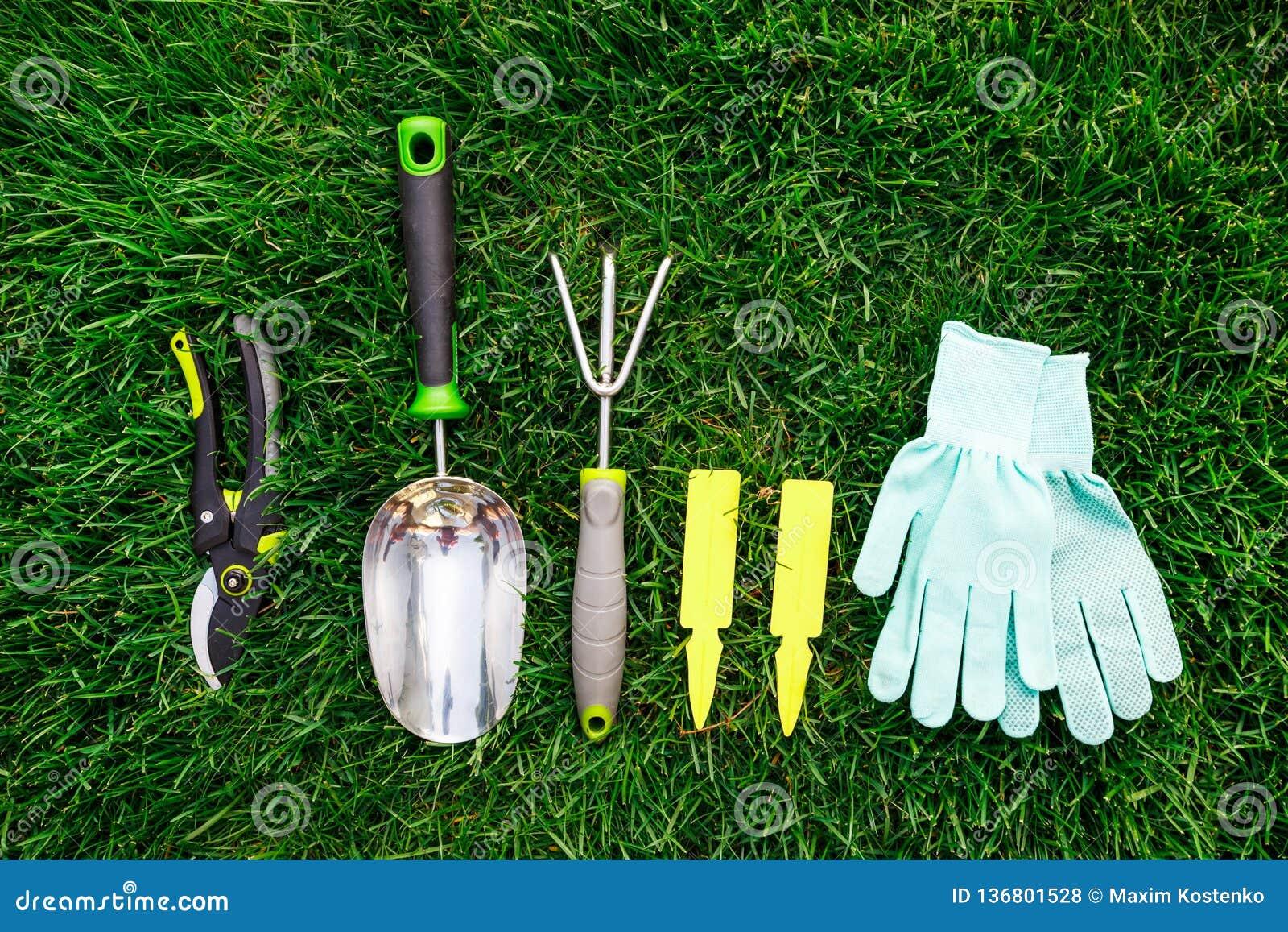Fin D\'outils Et D\'équipement De Jardinage Sur L\'herbe Verte, L ...