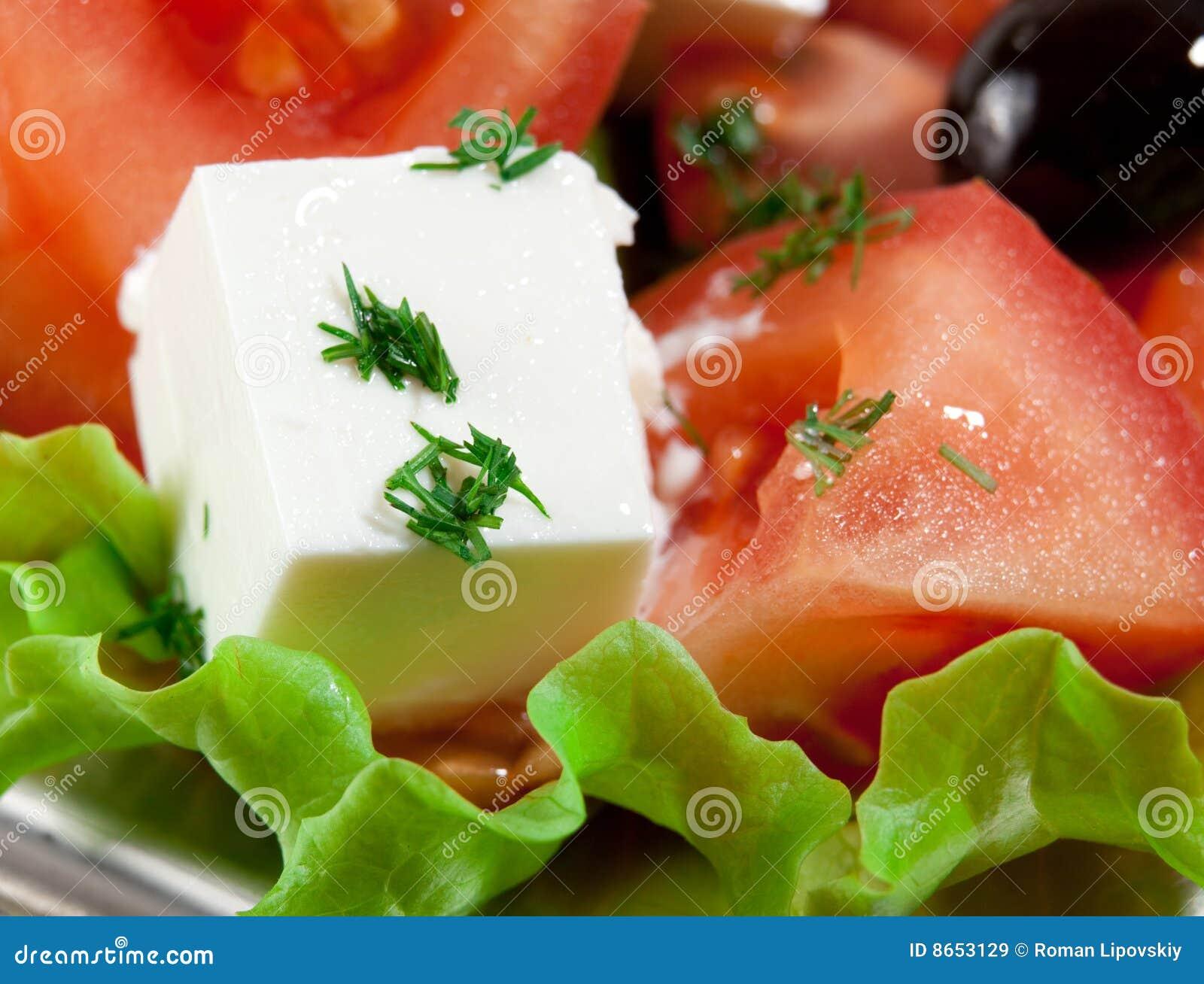Fin fraîche et saine vers le haut de salade de la Grèce