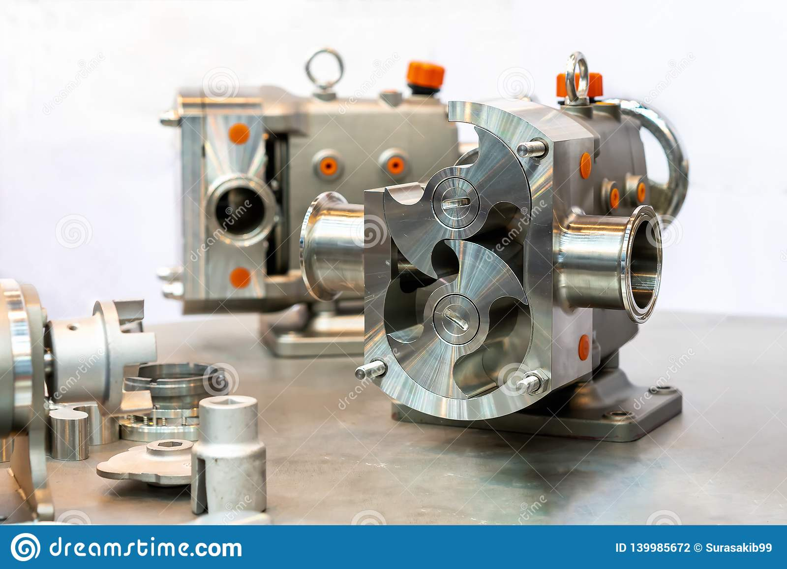 Fin vers le haut de détail en coupe d exposition à l intérieur de la technologie de pointe et de la qualité rotatoires ou de pomp