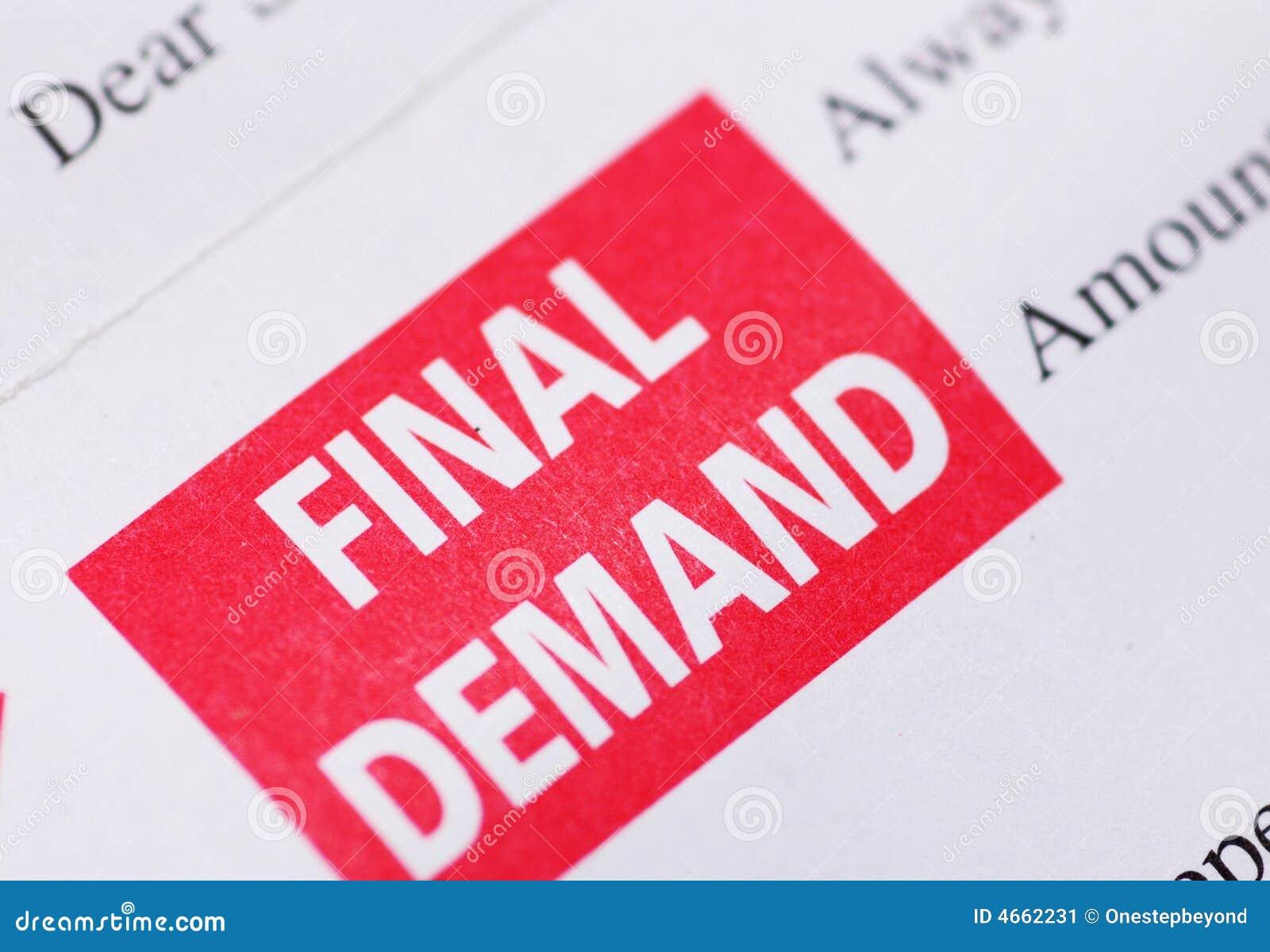 Final Demand Stock Image Of Debt Report