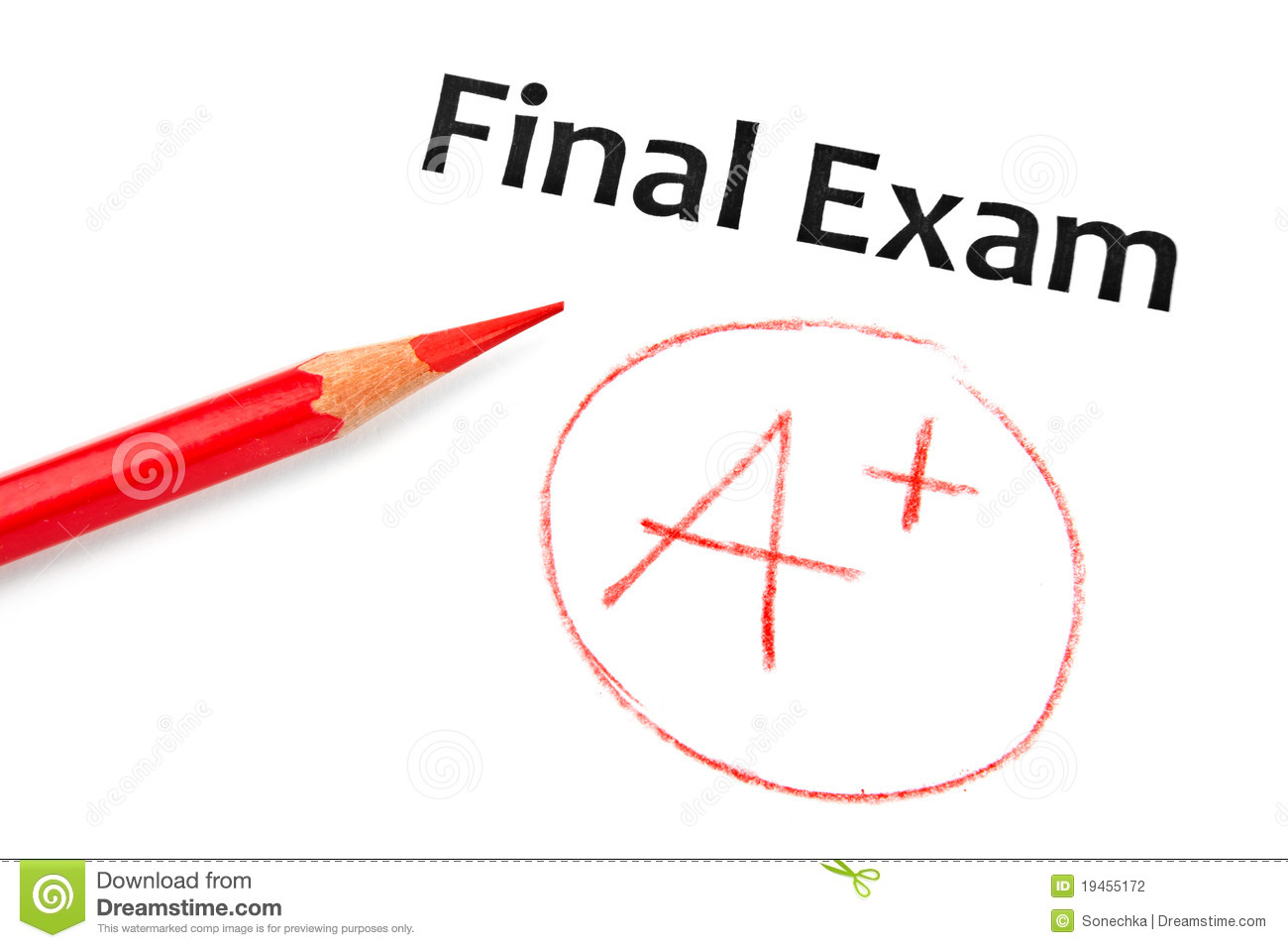 Final Exam Marked With A+ Stock Photography - Image: 19455172