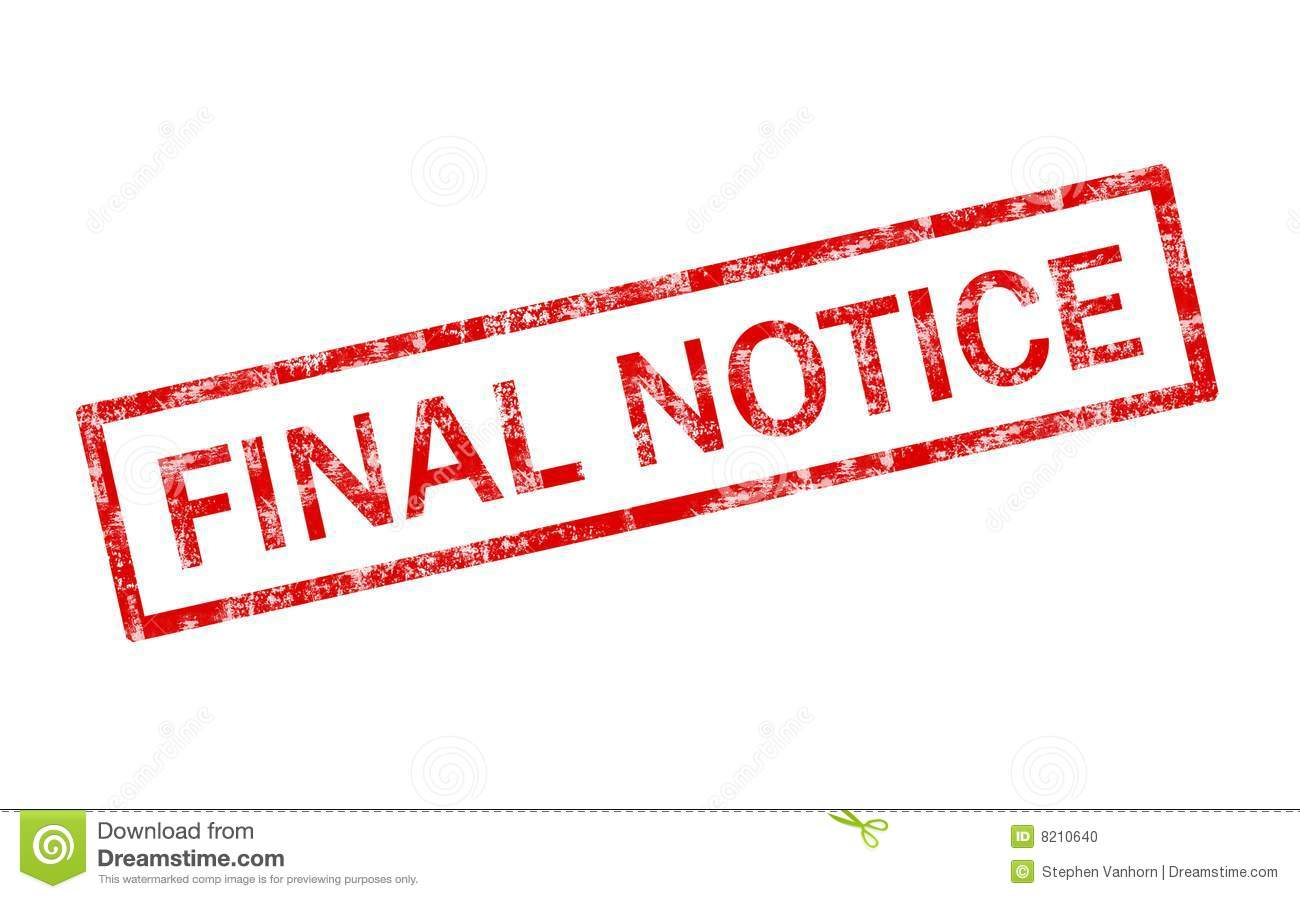Final Notice Stamp Stock Photo - Image: 8210640
