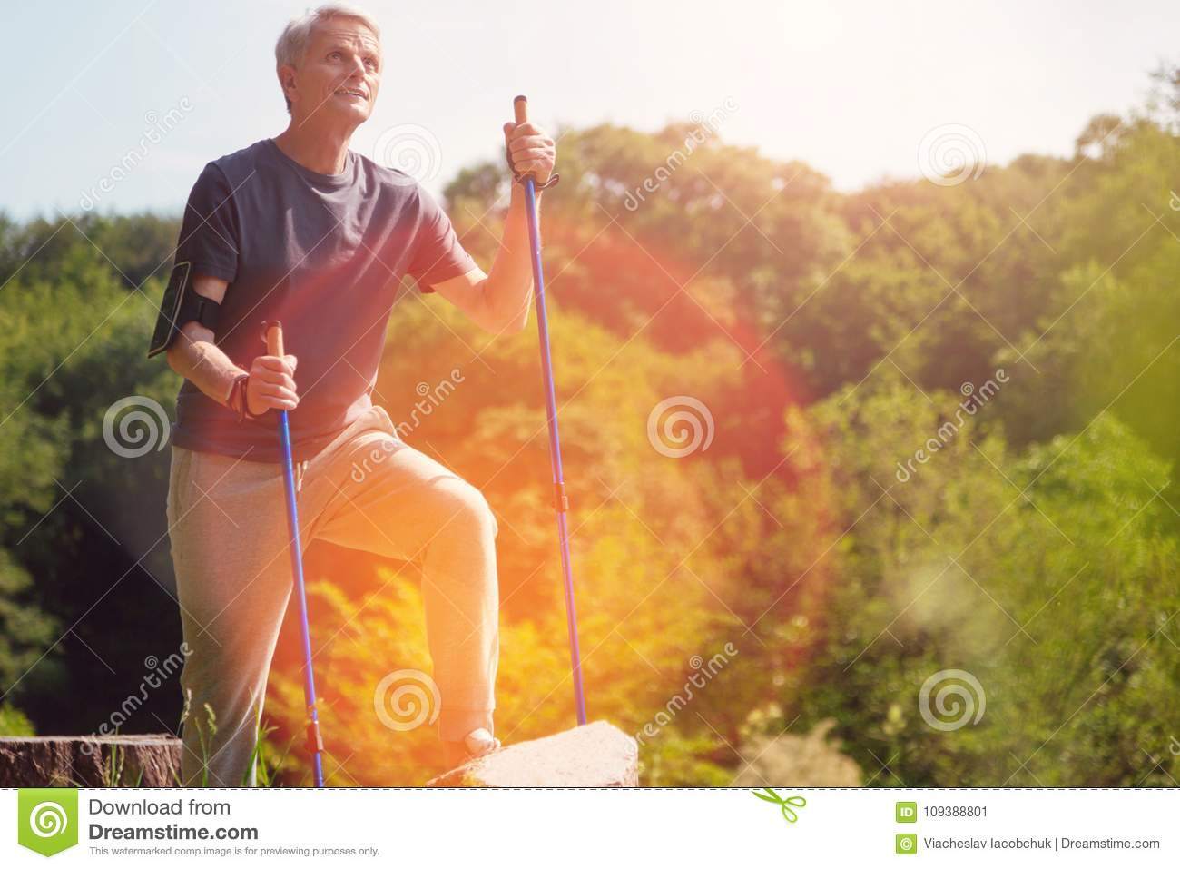 Positive elderly man reaching his destination