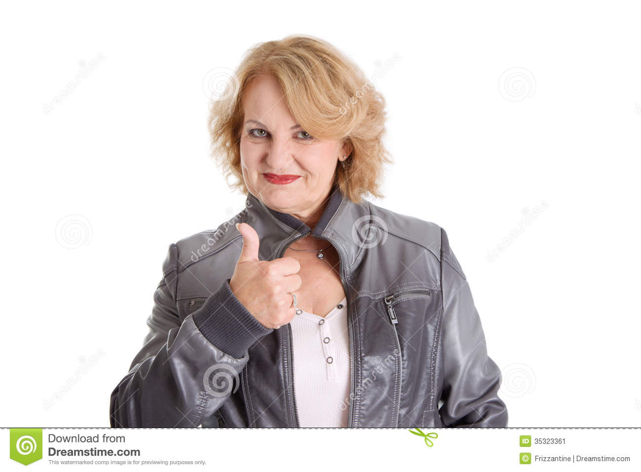 Mature woman thumbs up, isolated on white