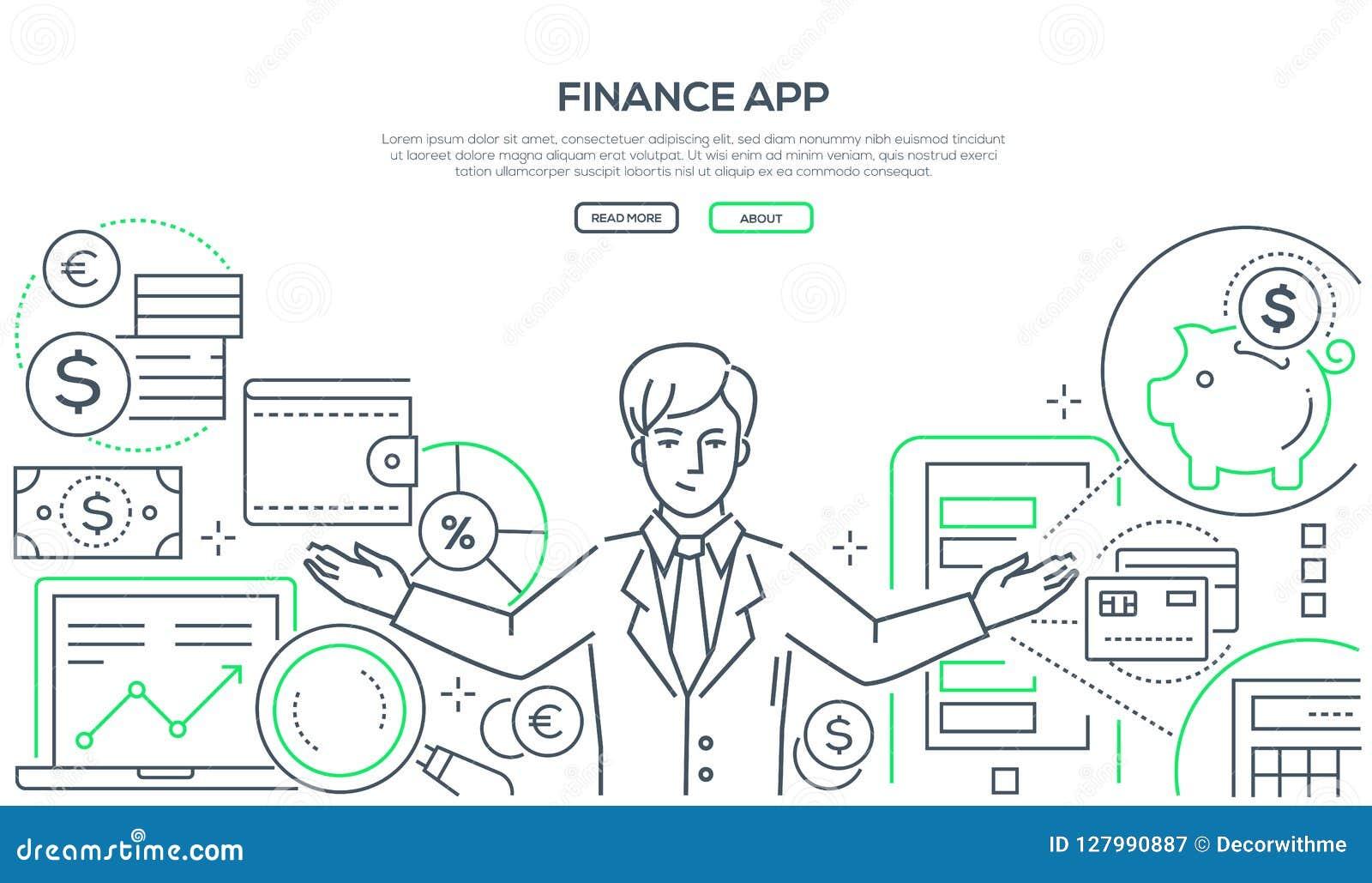 Finança app - linha colorida ilustração do vetor do estilo do projeto