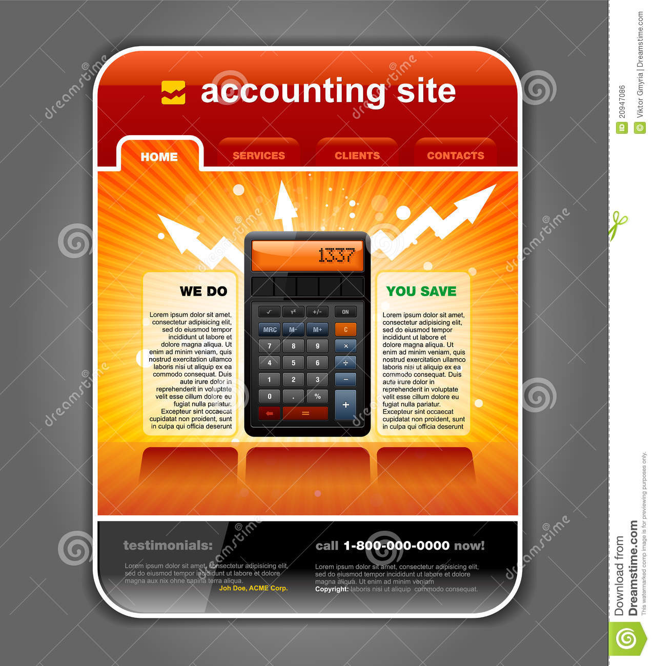 finance accounting web site template vector stock vector
