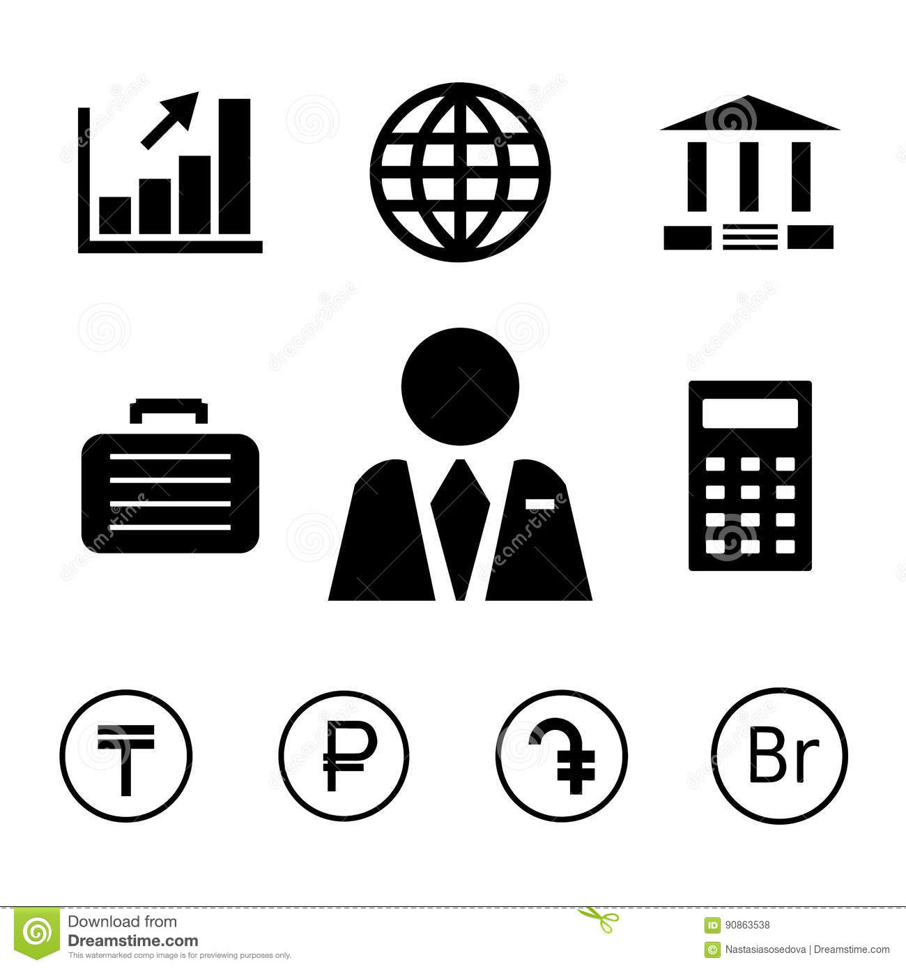 Finance And Bank Icons With Currency Symbols Stock Vector