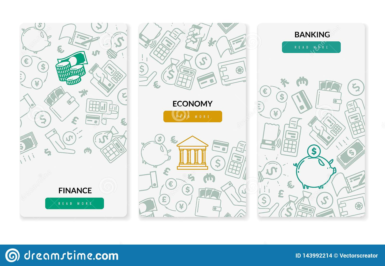 Finance banking icons vertical banners. Three vertical banners on white background