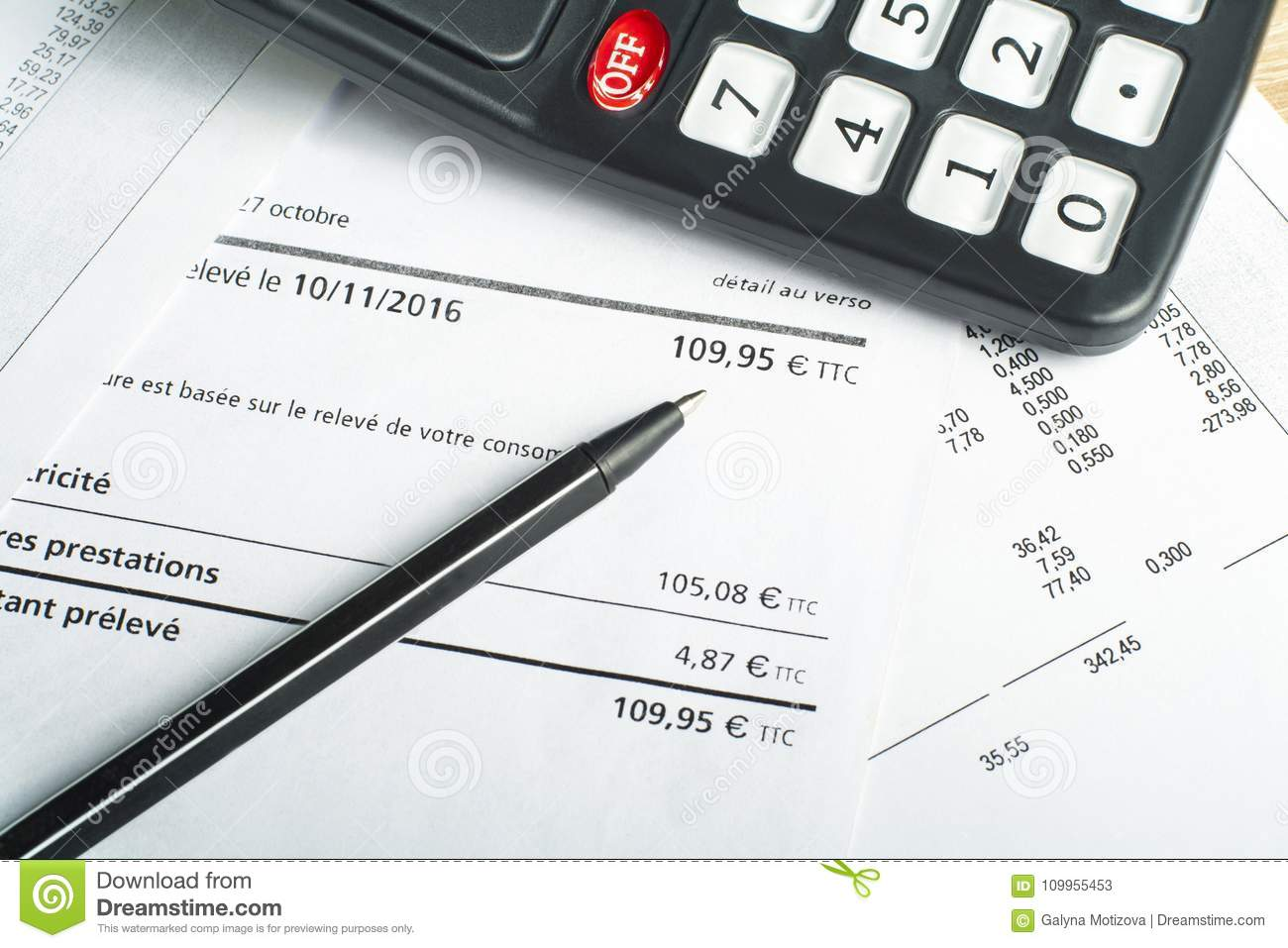 finance and budget concept calculator pen and accounting document
