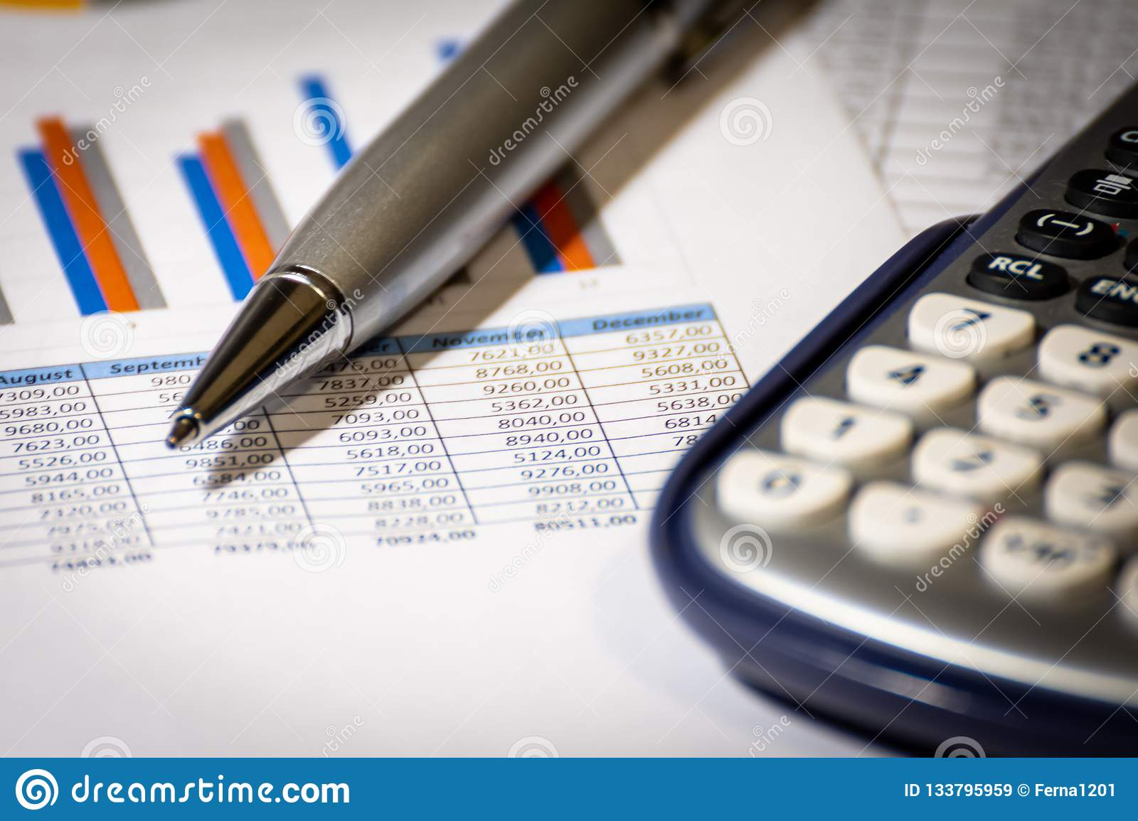 Finance, business budget planning and analysis concept, graph report with calculator on office desk