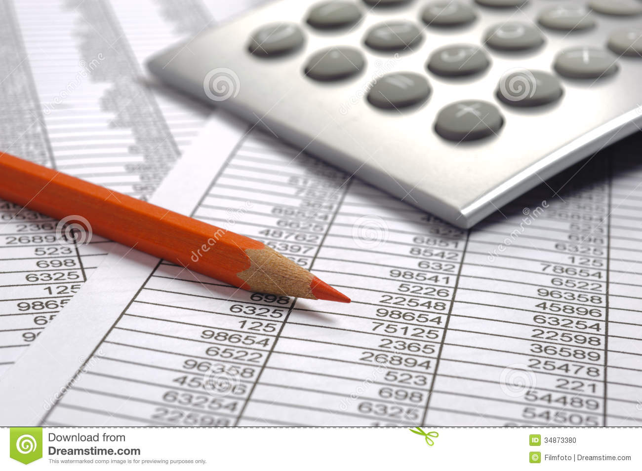Finance Business Calculation Financial Budget Chart Red Pencil on Office Work Diagram