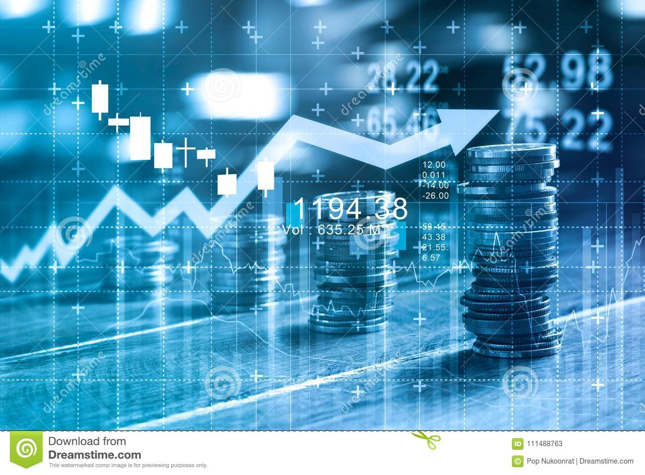 Finance and business concept. Invesment graph and coins rows