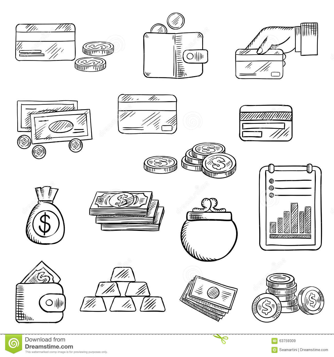finance business and money icons sketches stock vector
