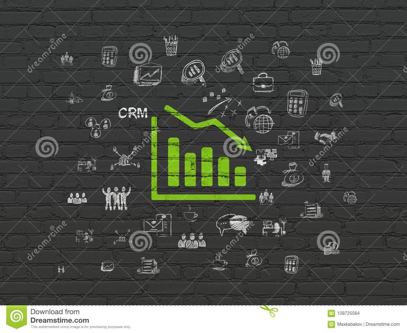 Finance concept: Decline Graph on wall background