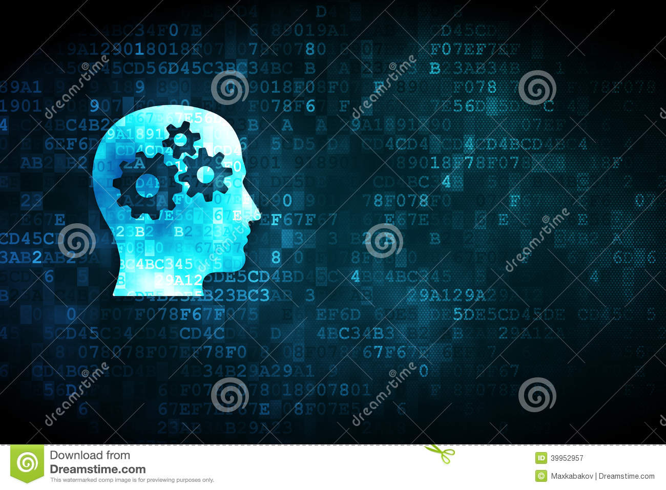 Finance concept: Head With Gears on digital background