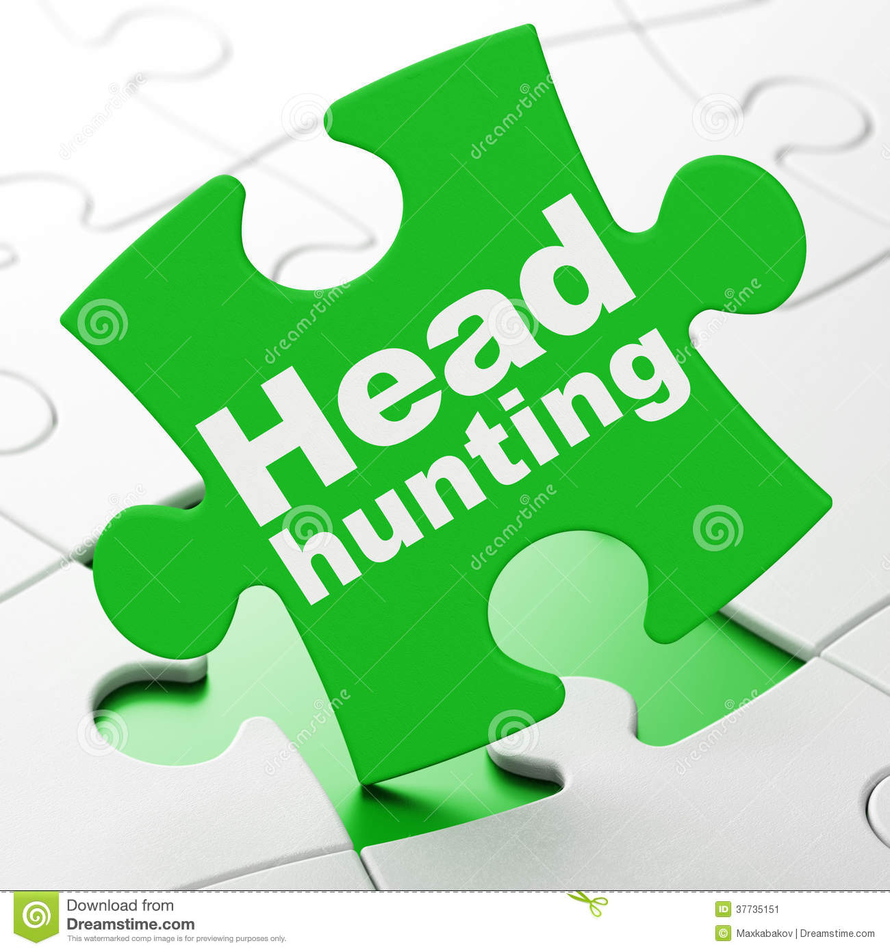 Finance Concept Head Hunting On Puzzle Background Stock