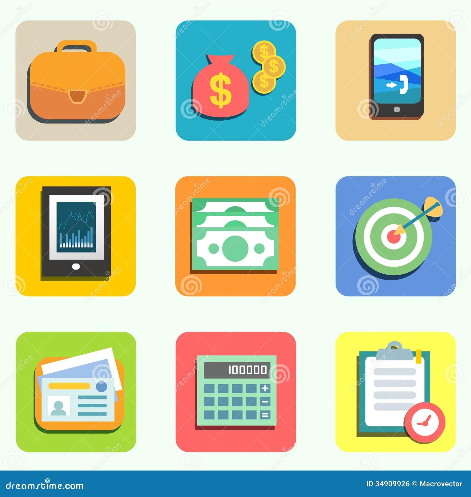 Finance Flat Icons Royalty Free Stock Image - Image: 34909926