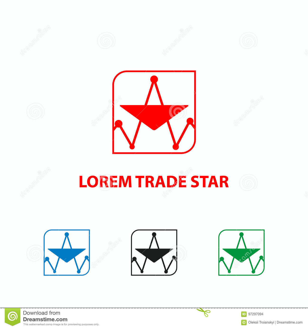 Finance Graph Icon Trade Schedule Looks Like A Star Logo Template Diagram Stock Vector