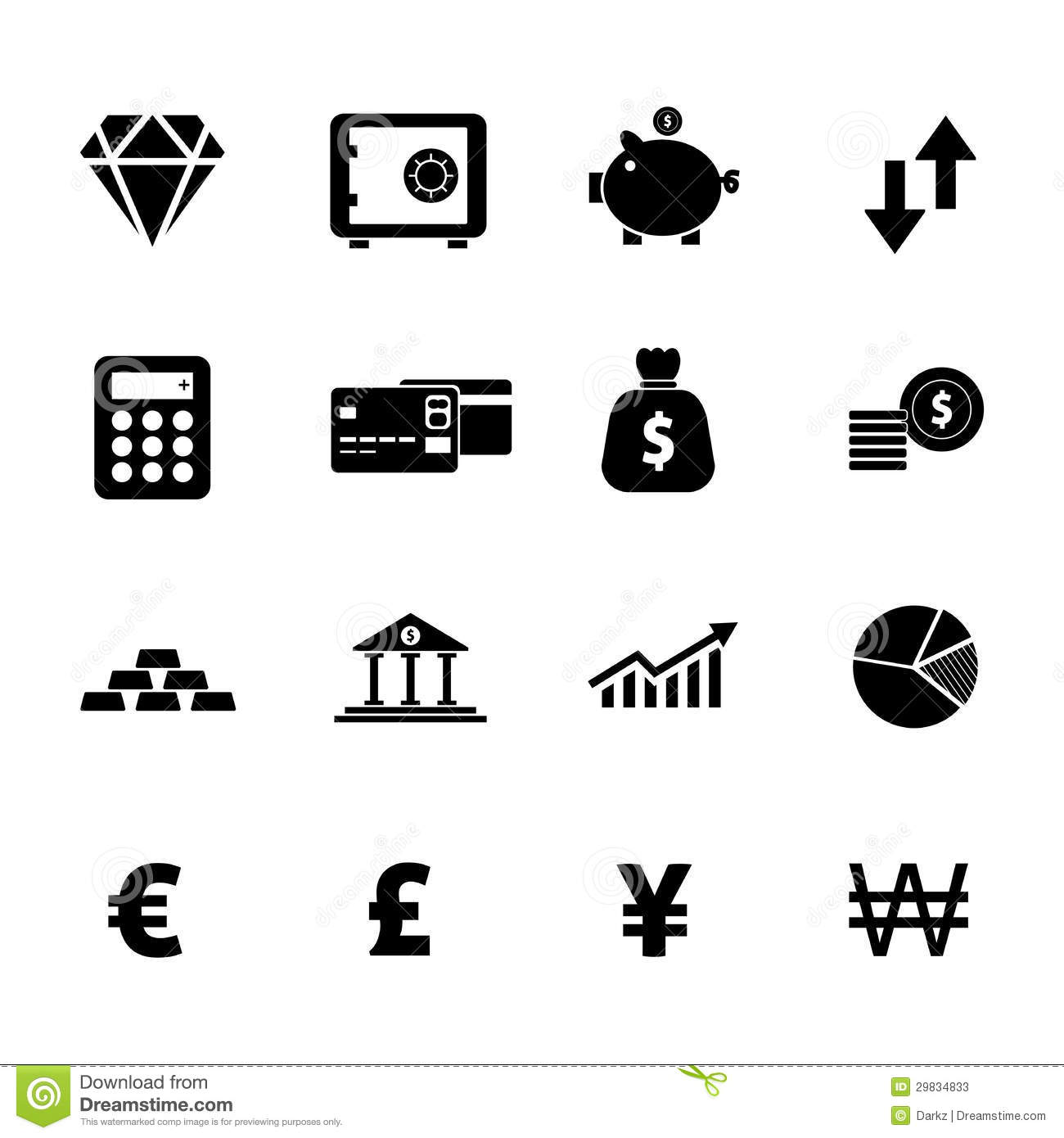 finance icon set stock photos