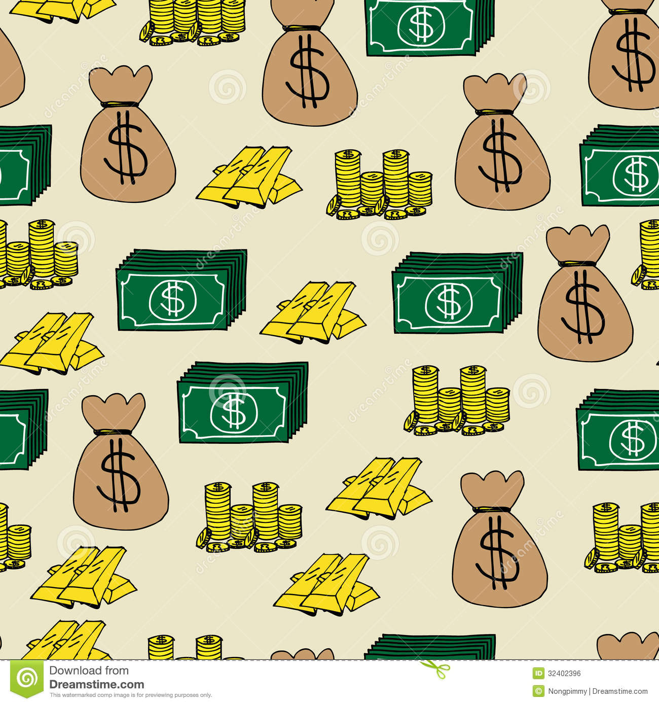 Finance Cartoons: Finance Icons Seamless Background Royalty Free Stock Image