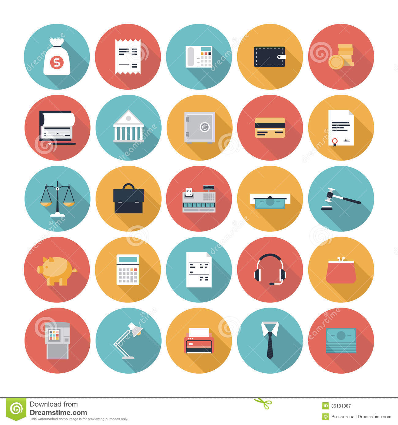 Finance Market: Finance And Market Flat Icons Set Stock Vector