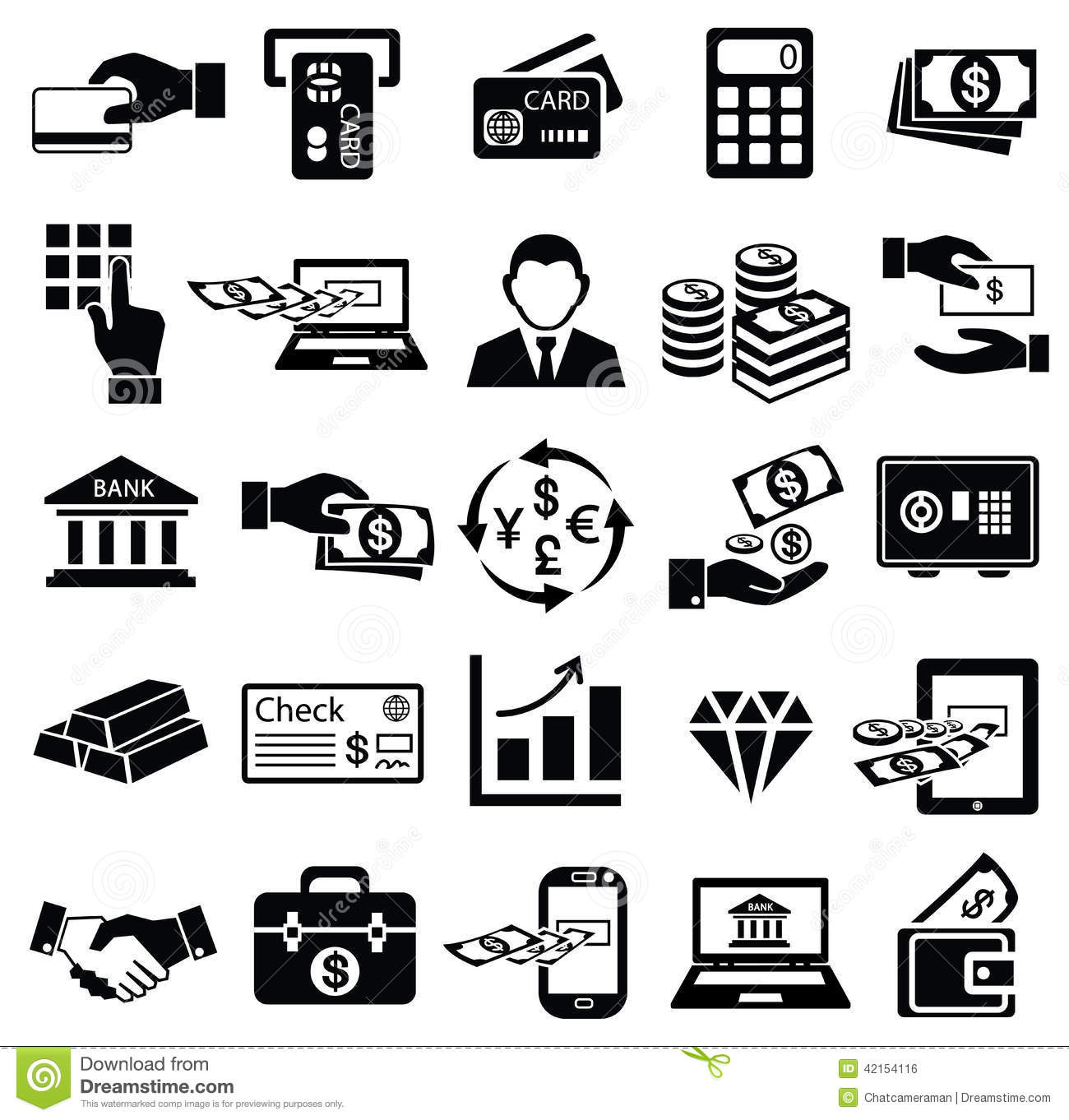 Finance: Finance Money Icon Set, Stock Vector. Illustration Of