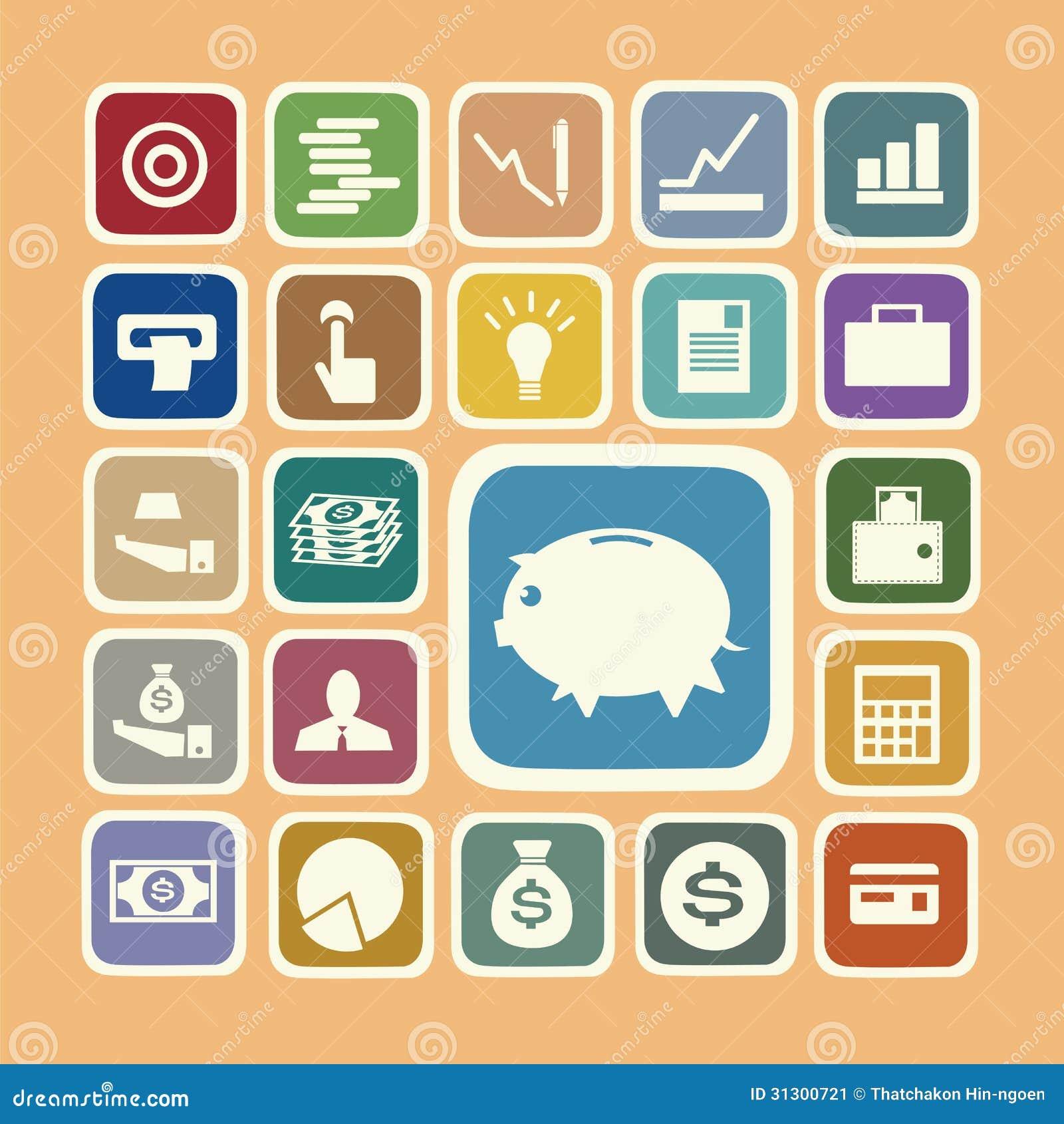 Finance Icon Set: Finance And Money Icon Set Stock Image