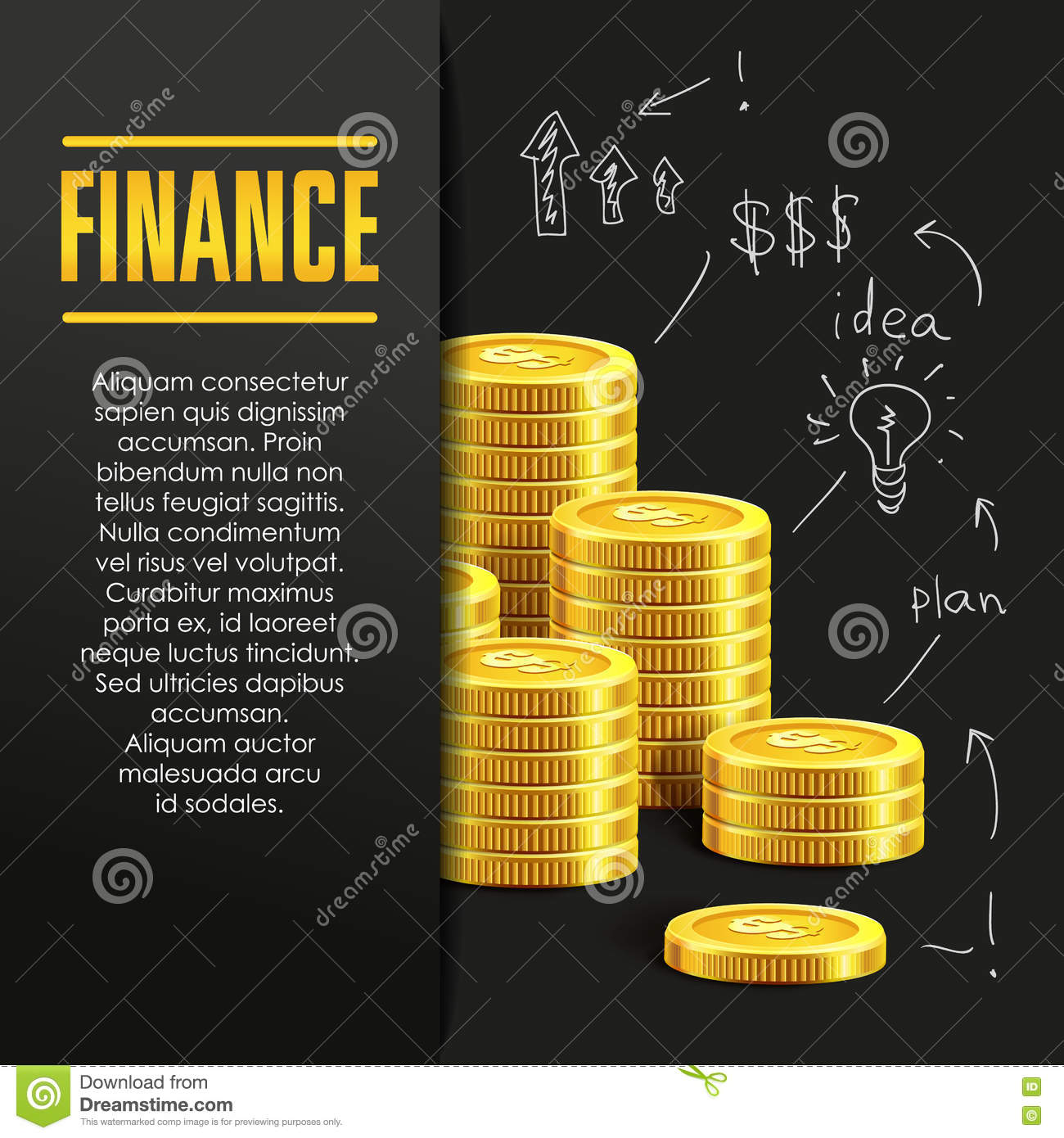 Finance: Finance Poster Or Banner Design Template With Golden Coins
