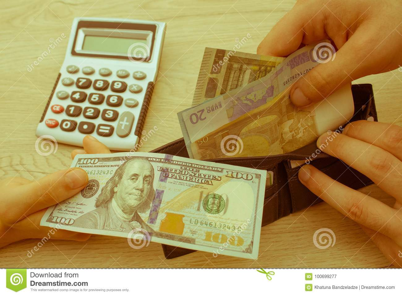 Finances, currency, business and people concept - close up of male and female hands giving or exchanging money