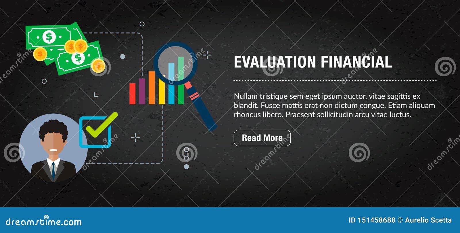 Financiële evaluatie, banner Internet met pictogrammen in vector