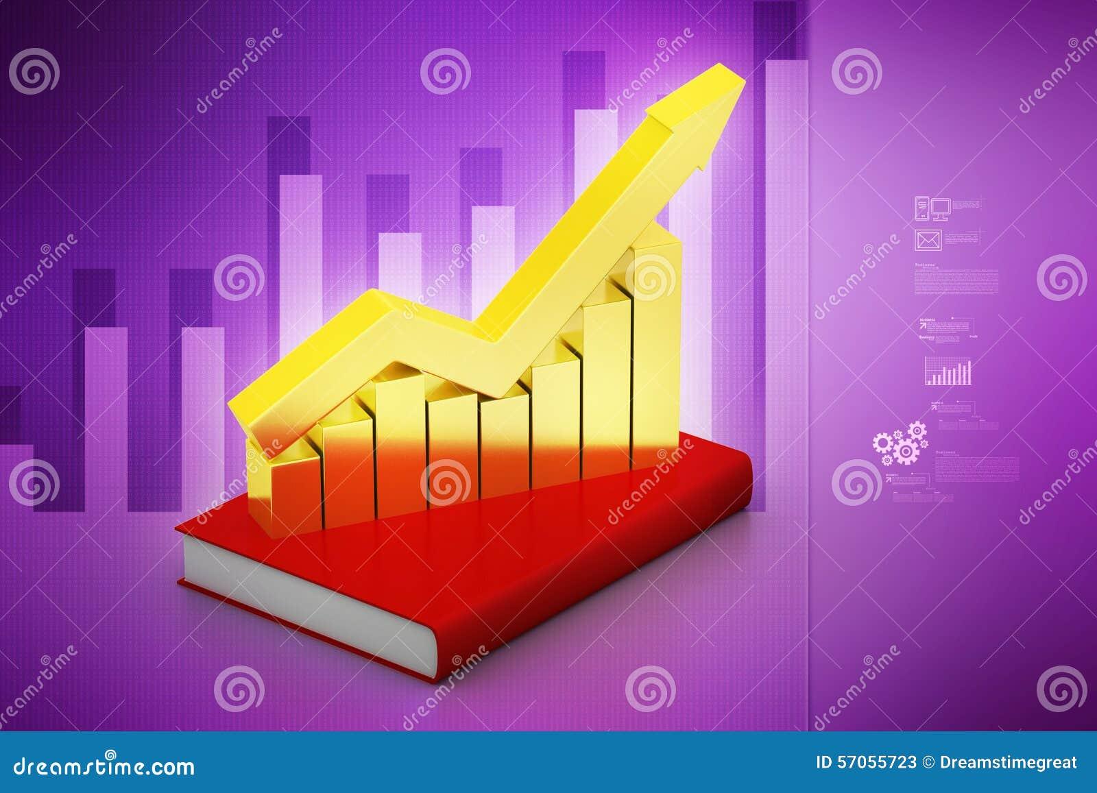 Financiële grafiek in succes op boek