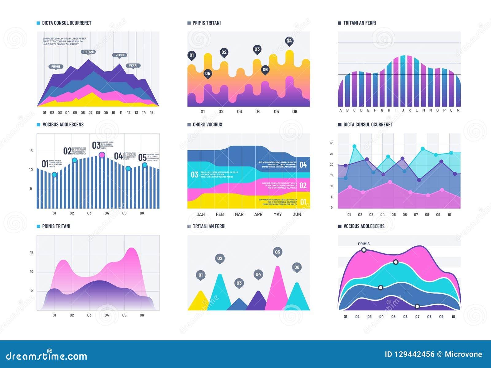 Financiële infographic Bedrijfsgrafiek en lijnhistogram, economische diagram en voorraadgrafiek Marketing infographics