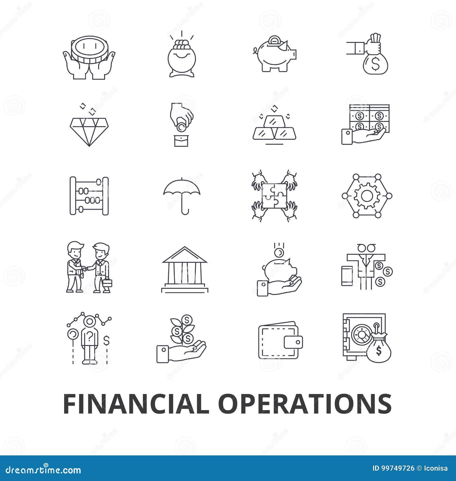 Financiële transacties, financiën, planning, de diensten, geld, boekhouding, de pictogrammen van de investeringslijn Editableslag