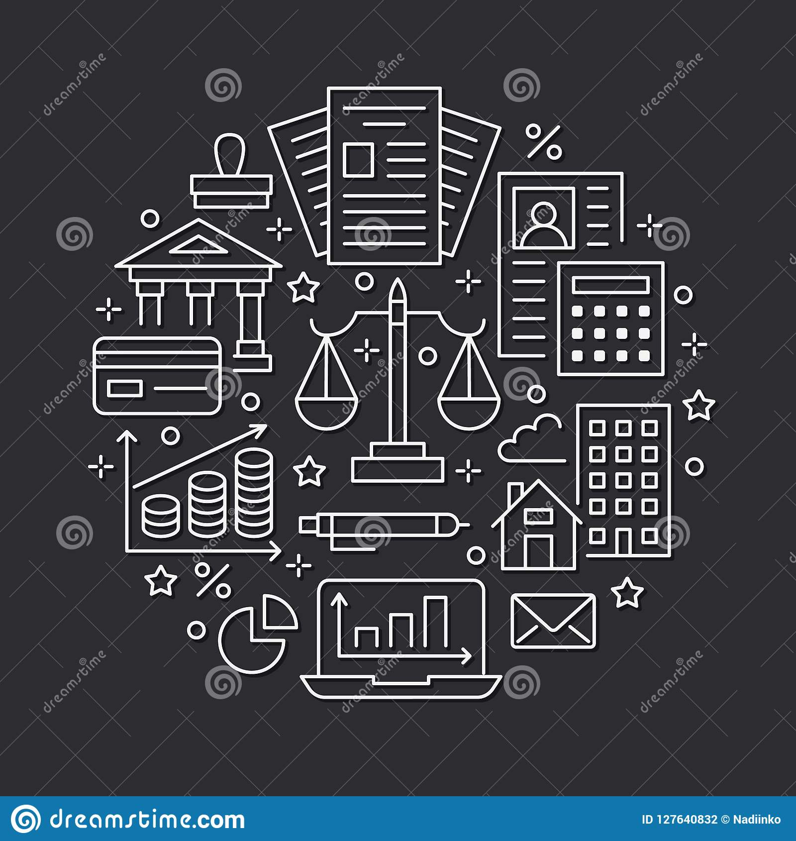 Financial Accounting Circle Poster Flat Line Icons. Bookkeeping Brochure Concept, Tax