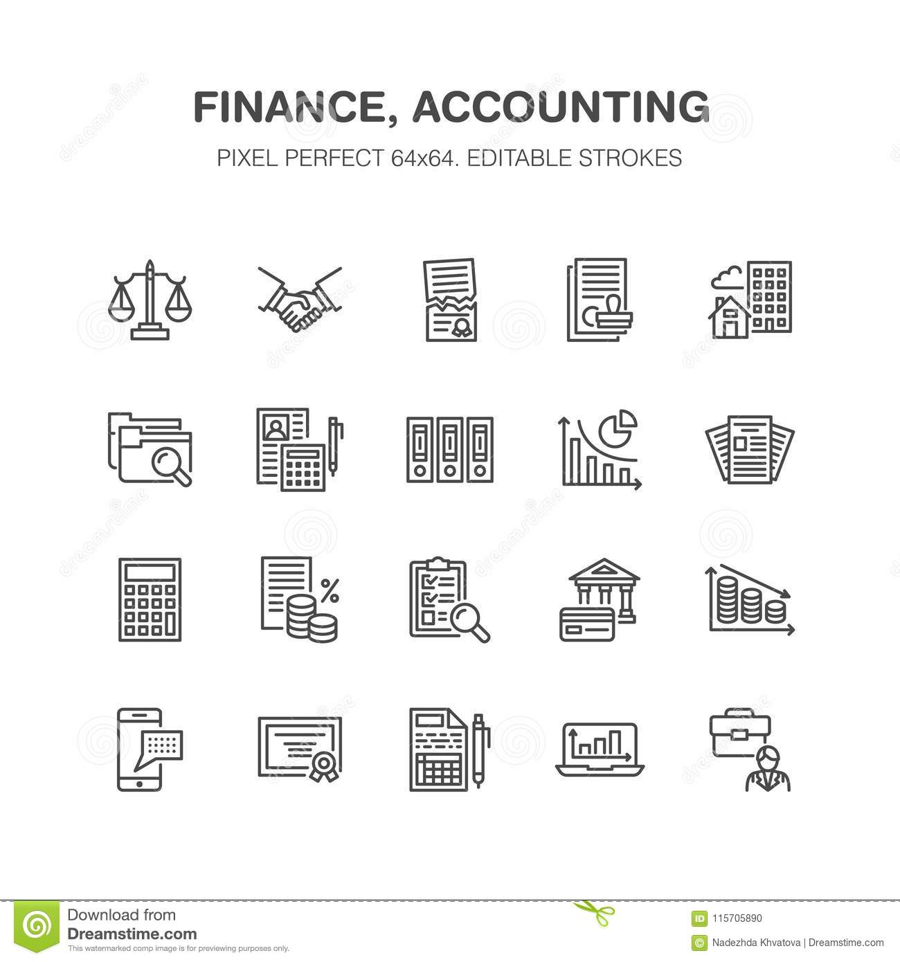 Financial Accounting Flat Line Icons. Bookkeeping, Tax Optimization, Firm, Accountant