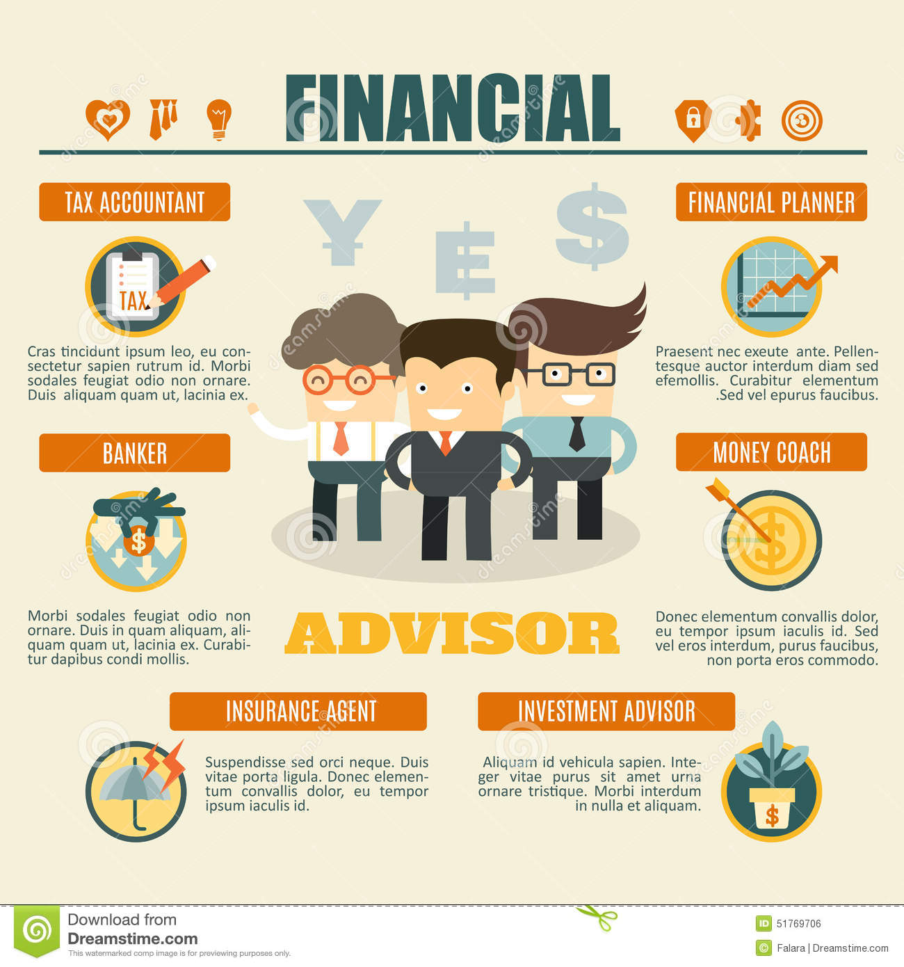 Financial Advisor Infographics Stock Vector Illustration