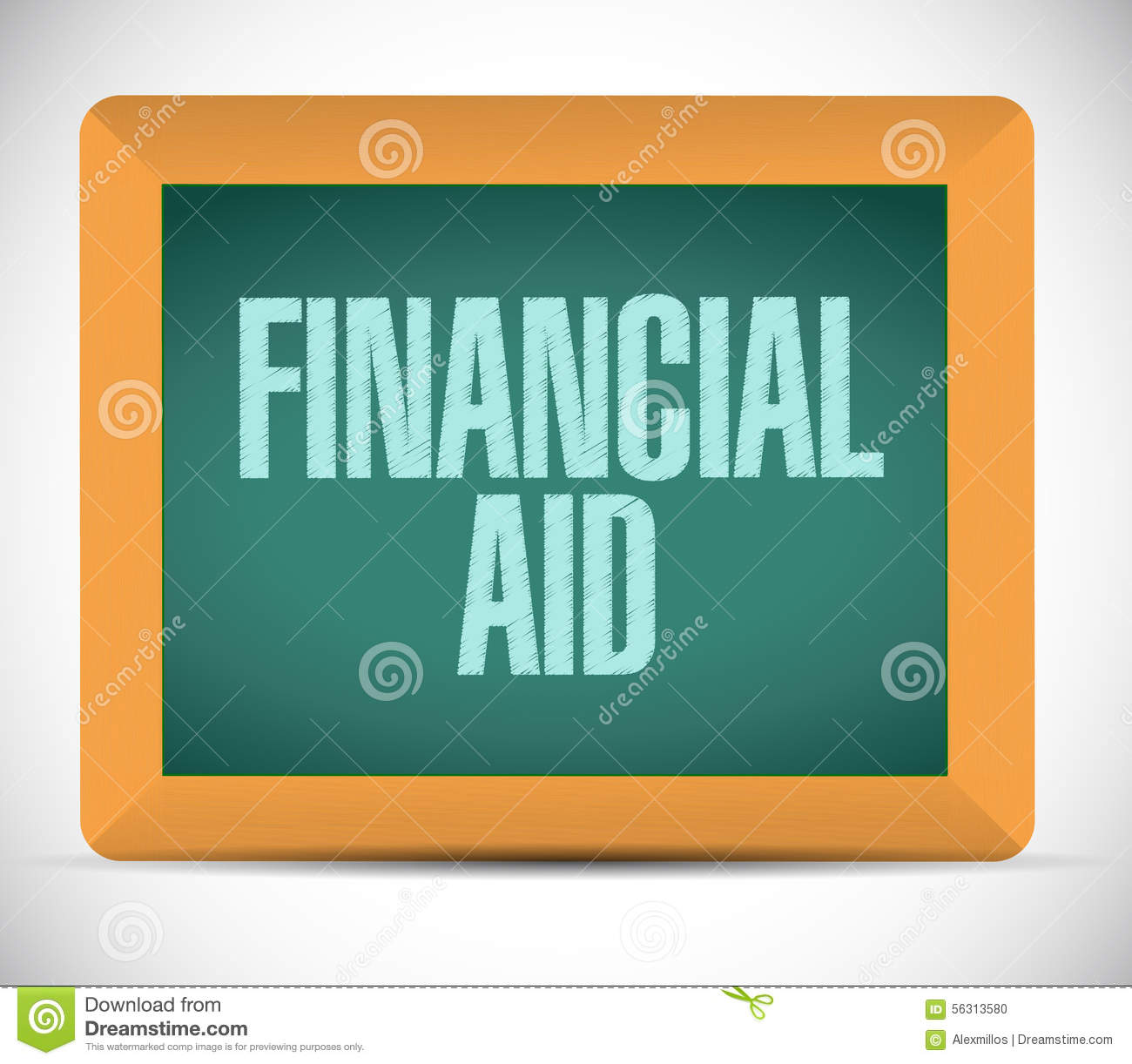Finance Sign: Financial Aid Board Sign Concept Stock Illustration