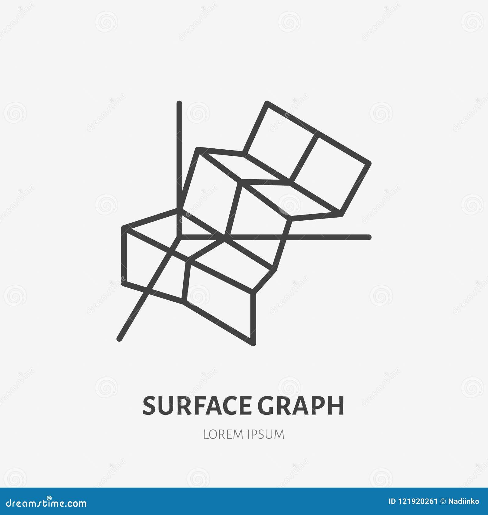 financial analysis flat logo surface chart graph icon data visualization vector illustration