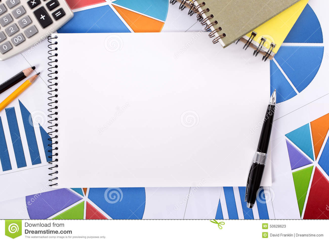 Accounting Financial Background Blank Notebook Copy Space Stock Photo ...