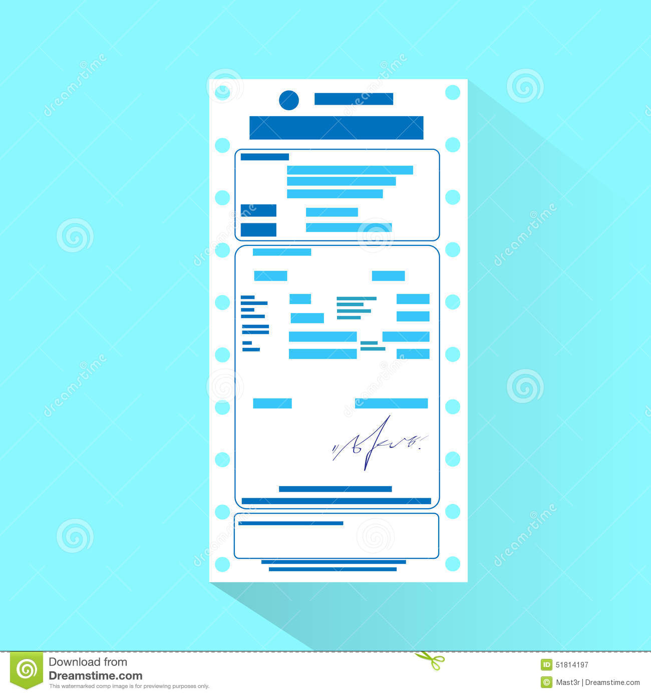 Financial Bill Document, Invoice Order Payment Stock