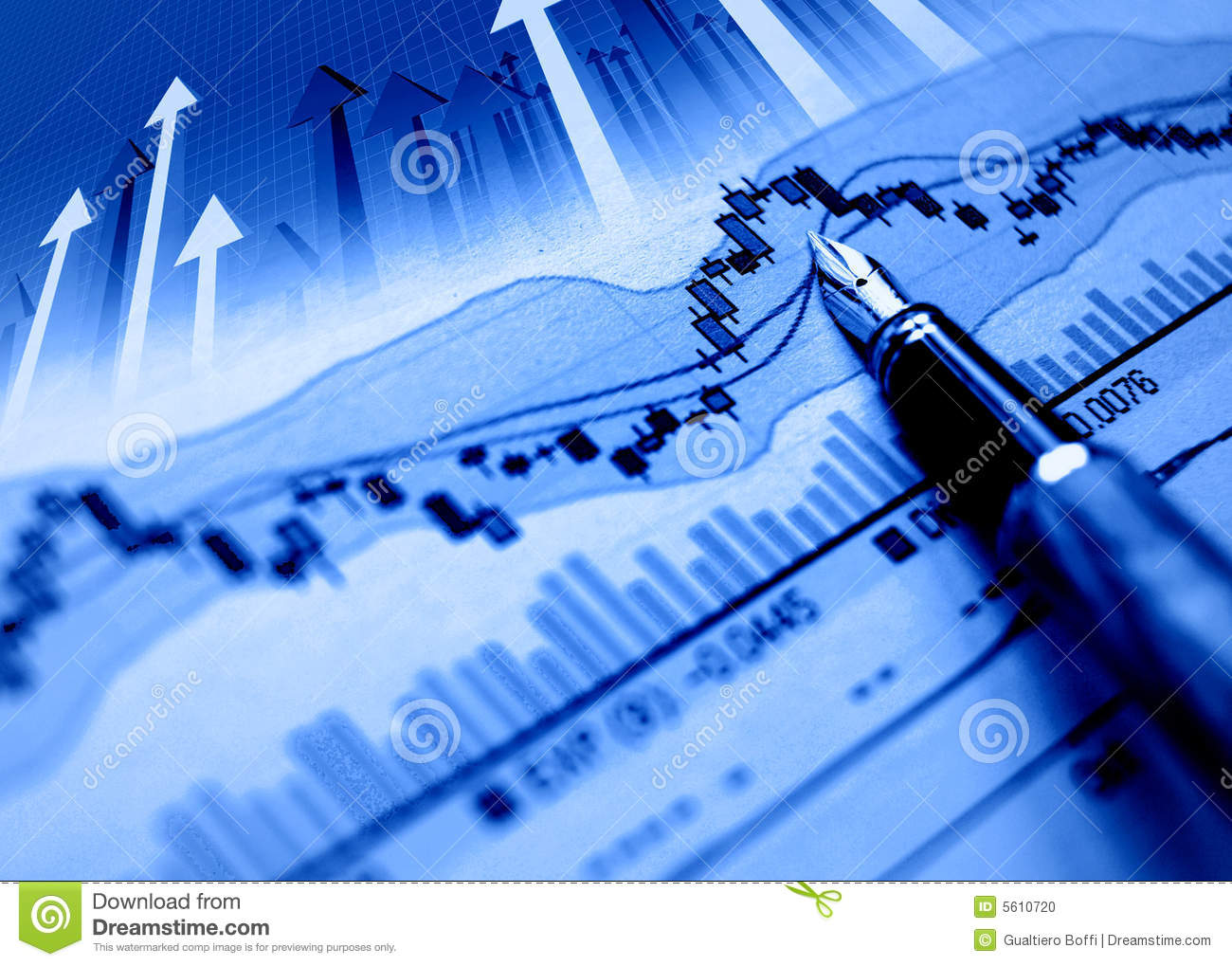 Financial Blue Chart Background Stock Photo - Image: 5610720