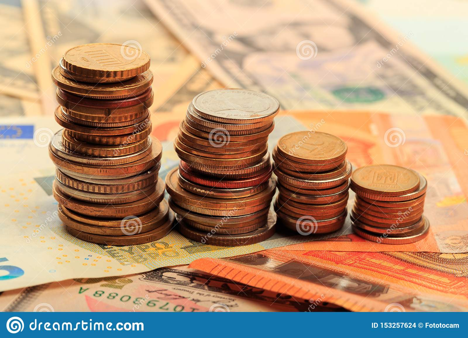 Financial business concept combination with coins, money, calculator and pen