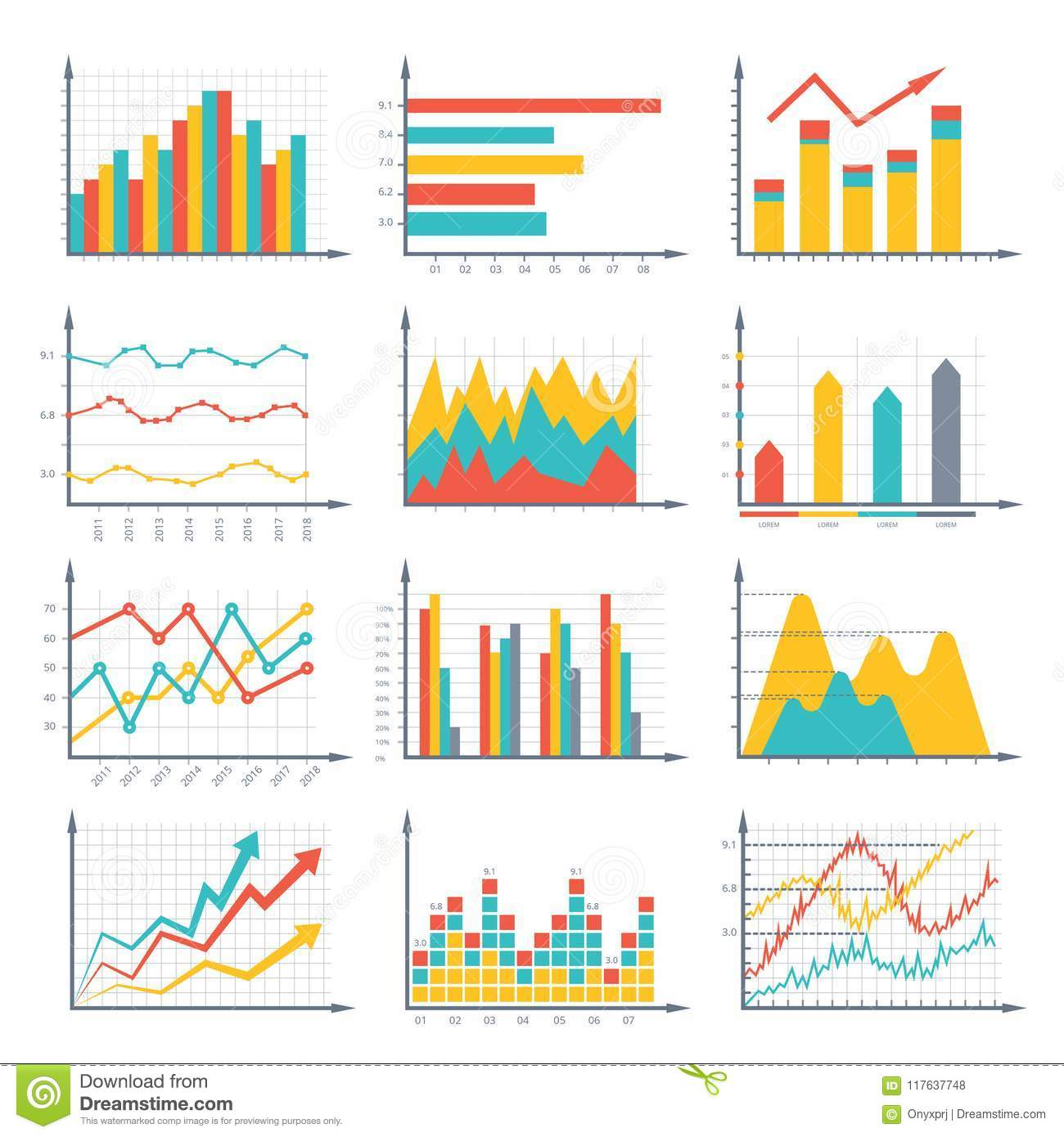 Financial business graphics and diagram set in vector style. Infographic illustrations